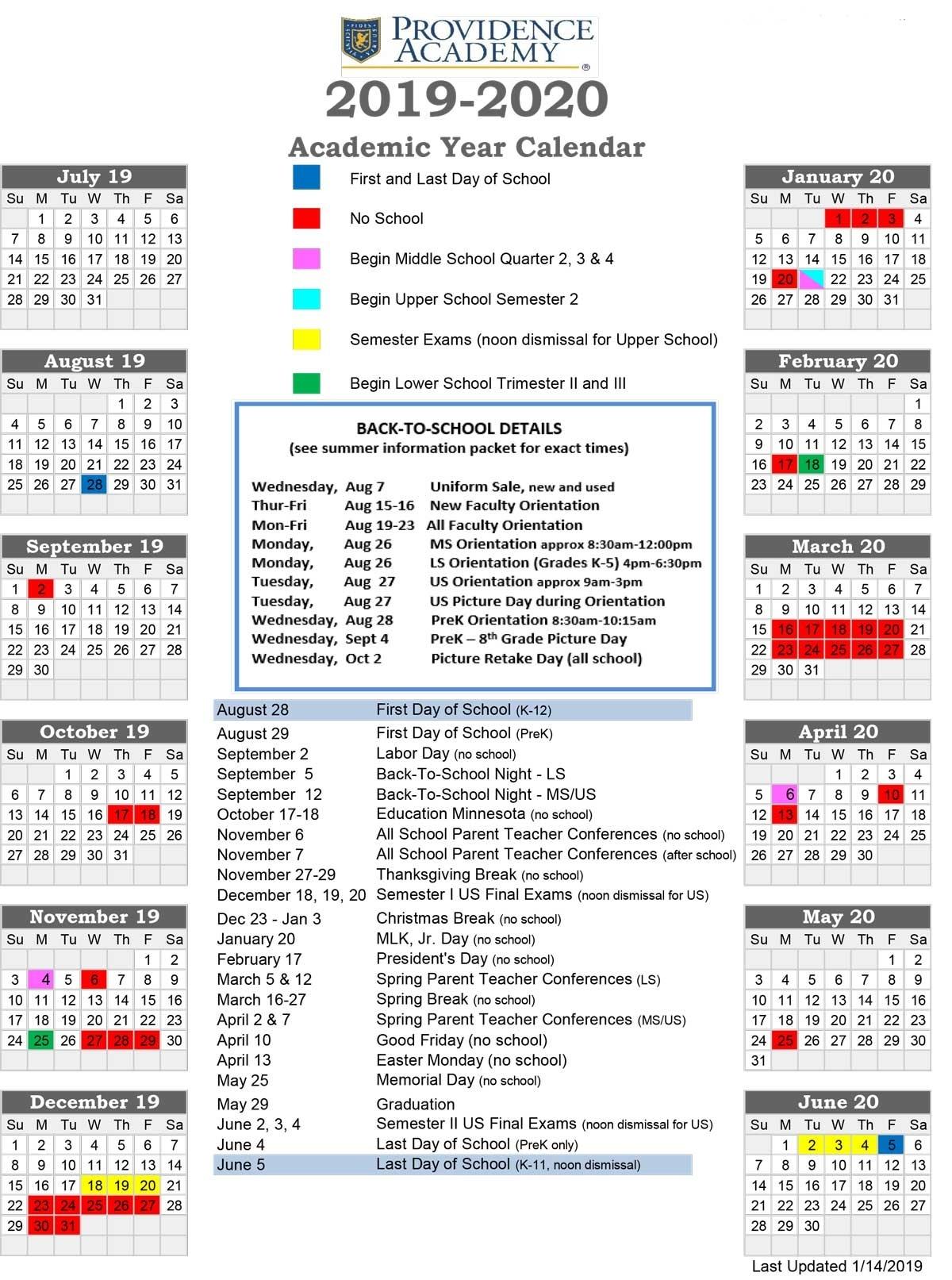 Academic Calendar - Providence Academy_T H Rogers School Calendar