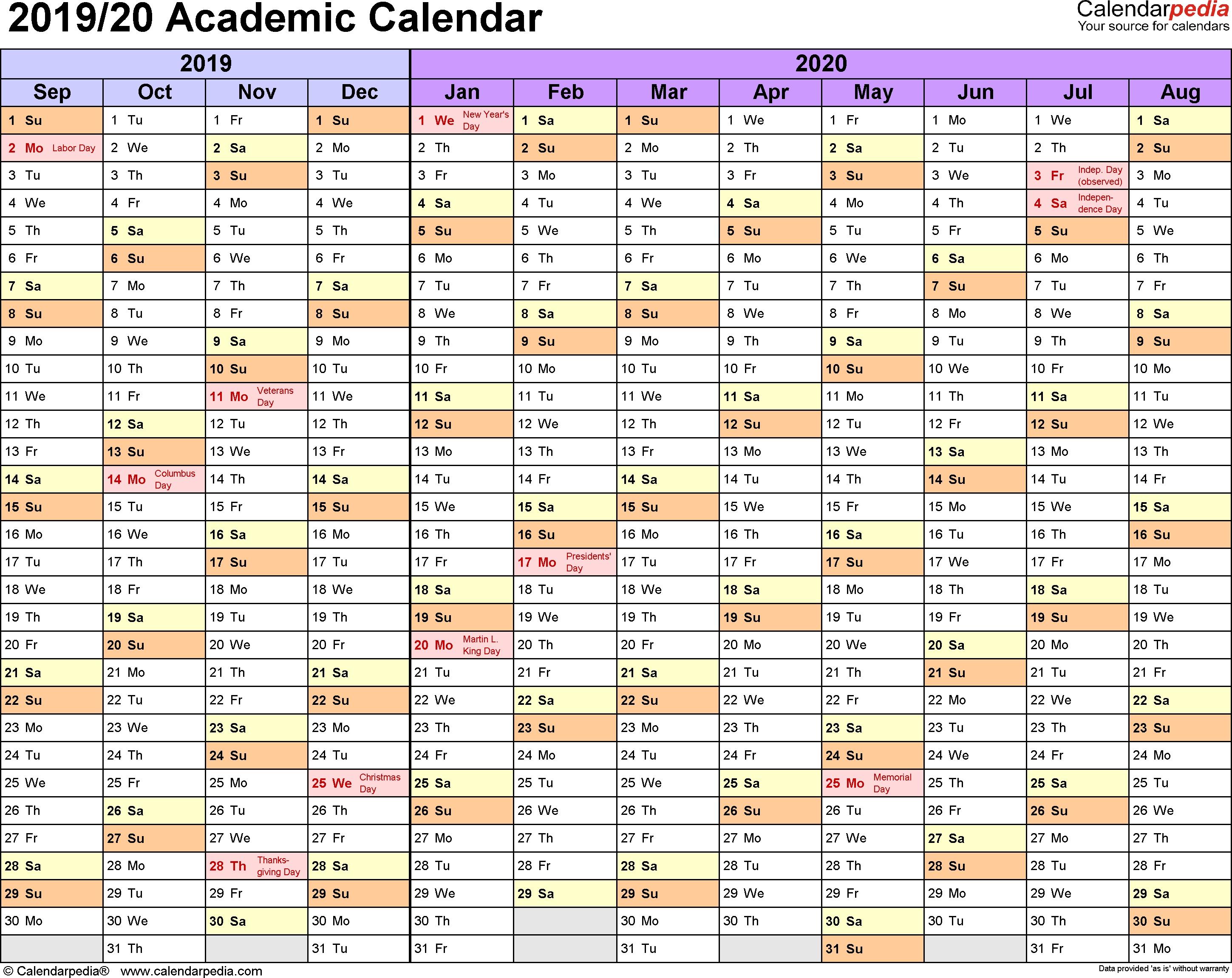 Academic Calendars 2019/2020 - Free Printable Excel Templates_Blank Horizontal Calendar 2020