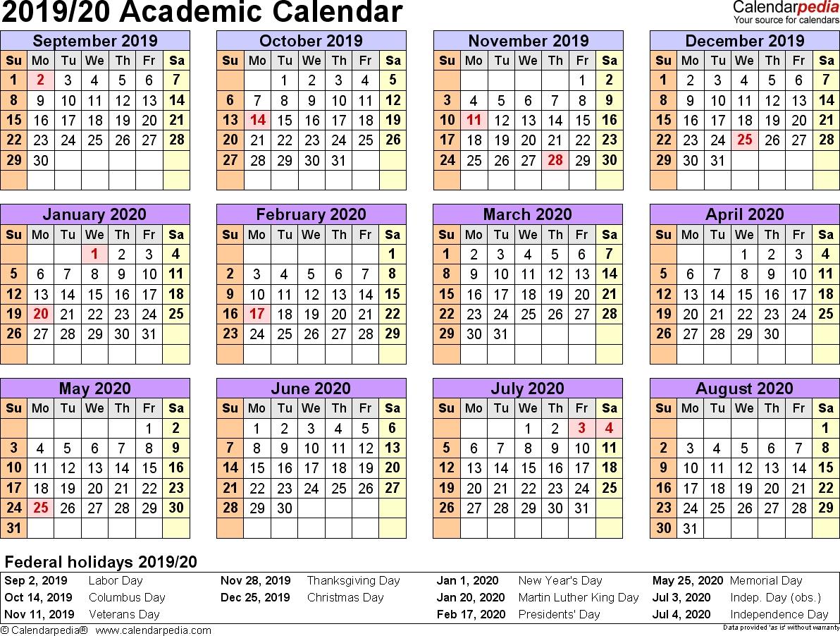 Academic Calendars 2019/2020 - Free Printable Excel Templates_School Calendar For 2020-18