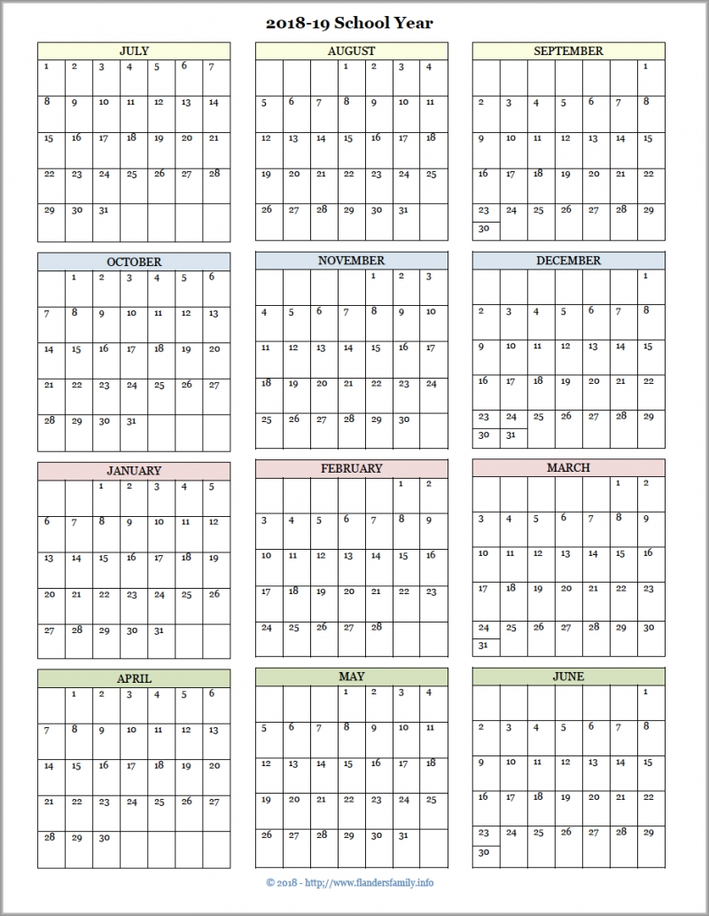 Academic Calendars For 2018-19 School Year (Free Printable)  </p>   </div>        <br>     <div class=