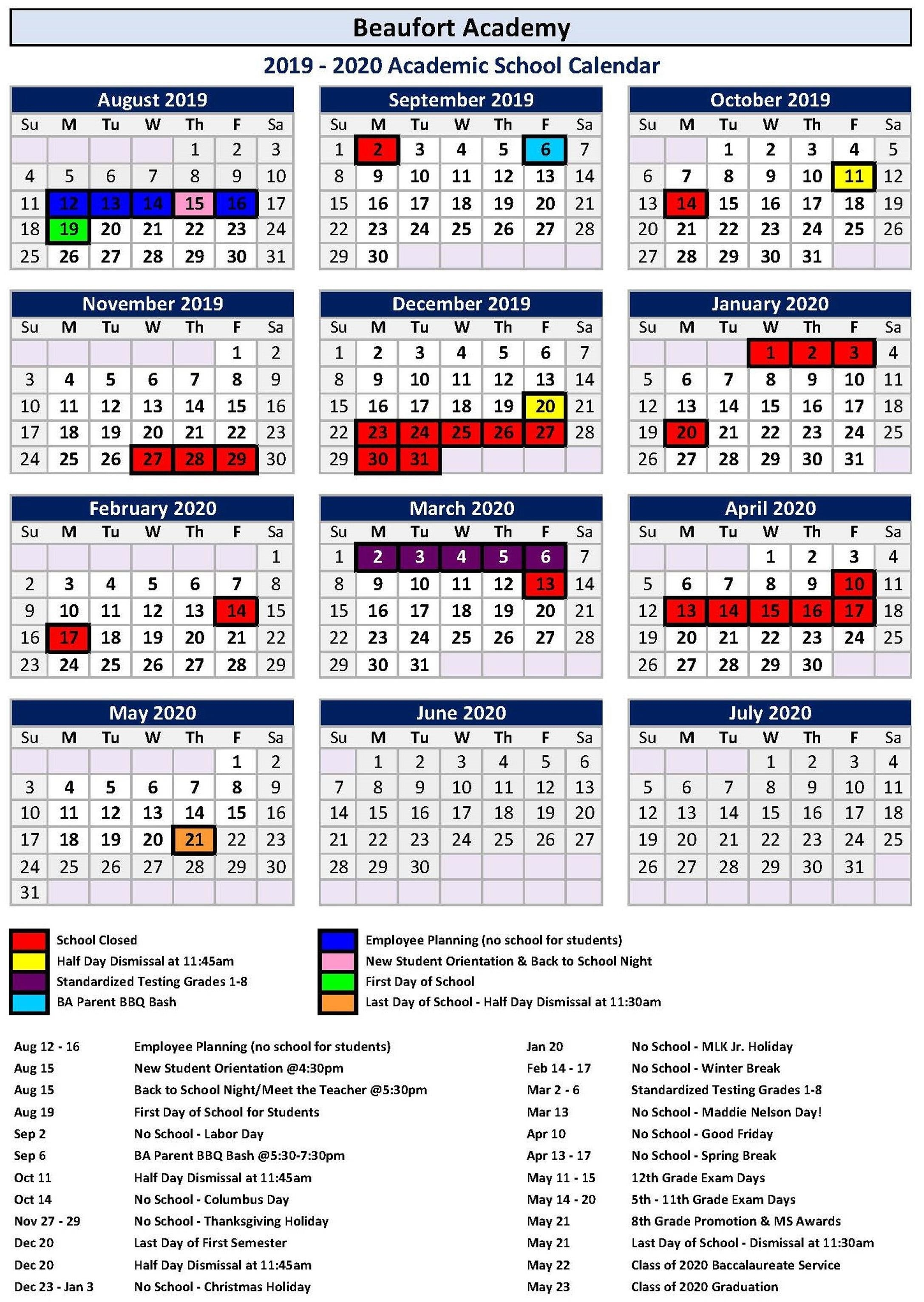 Academic Master Calendar – Ba Families – Beaufort Academy_School Calendar Beaufort County Sc