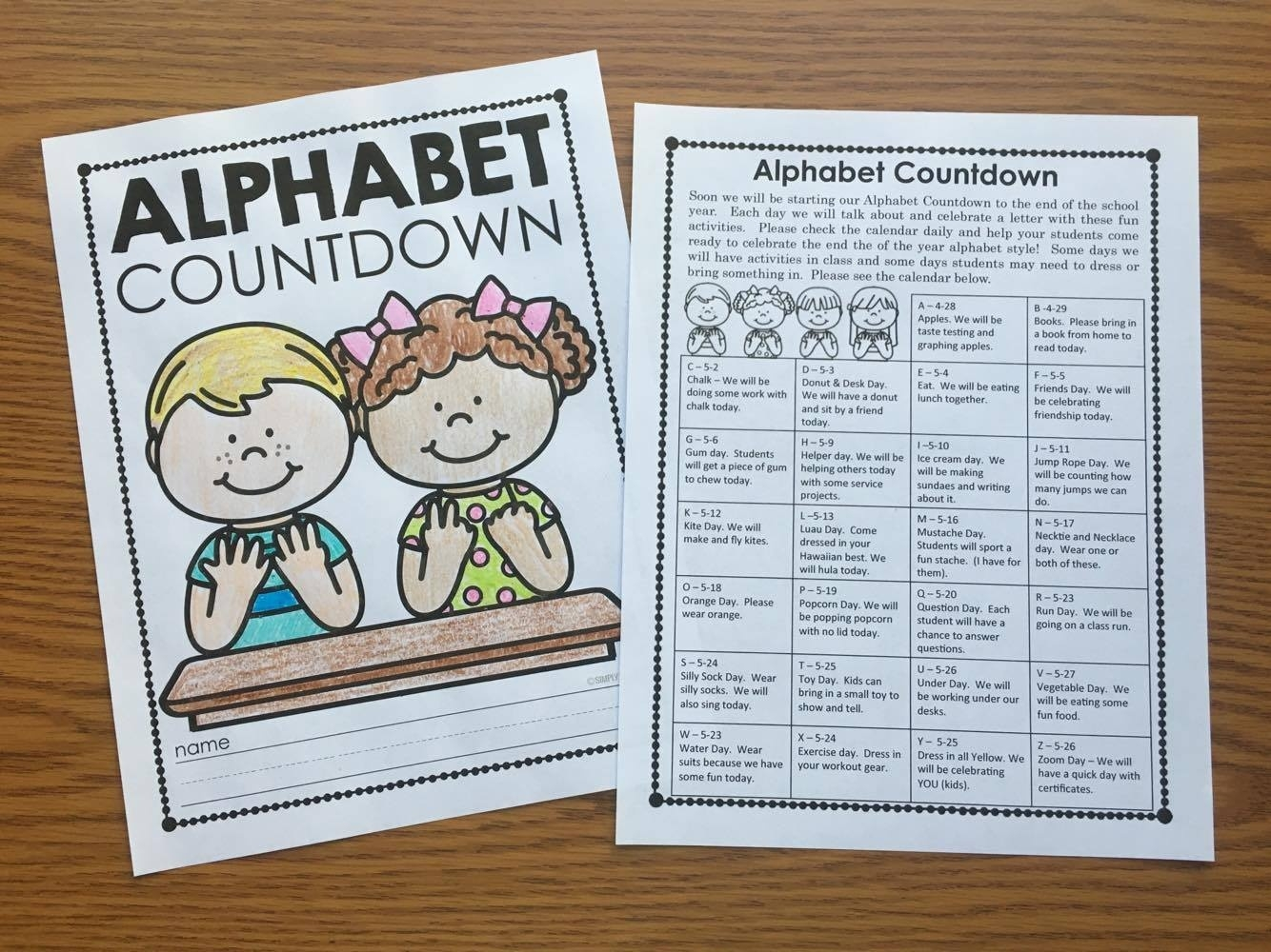 Alphabet Countdown Ideas - Simply Kinder_Countdown Calendar To End Of Year