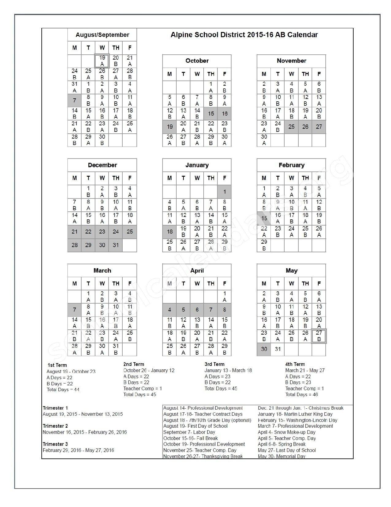 Alpine School District Calendar 2017 Alpine School District Calendar_Calendar Alpine School District