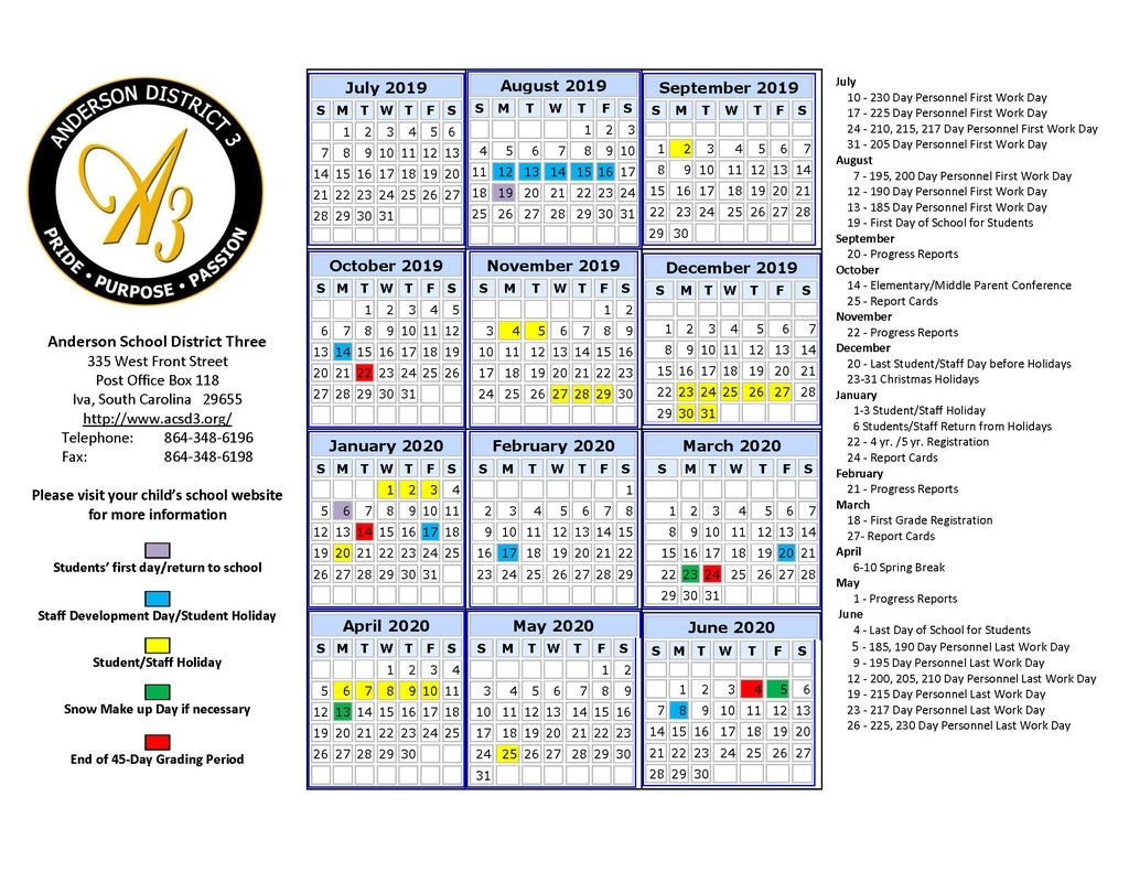 Anderson School District 3_Year Round Calendar Jordan School District