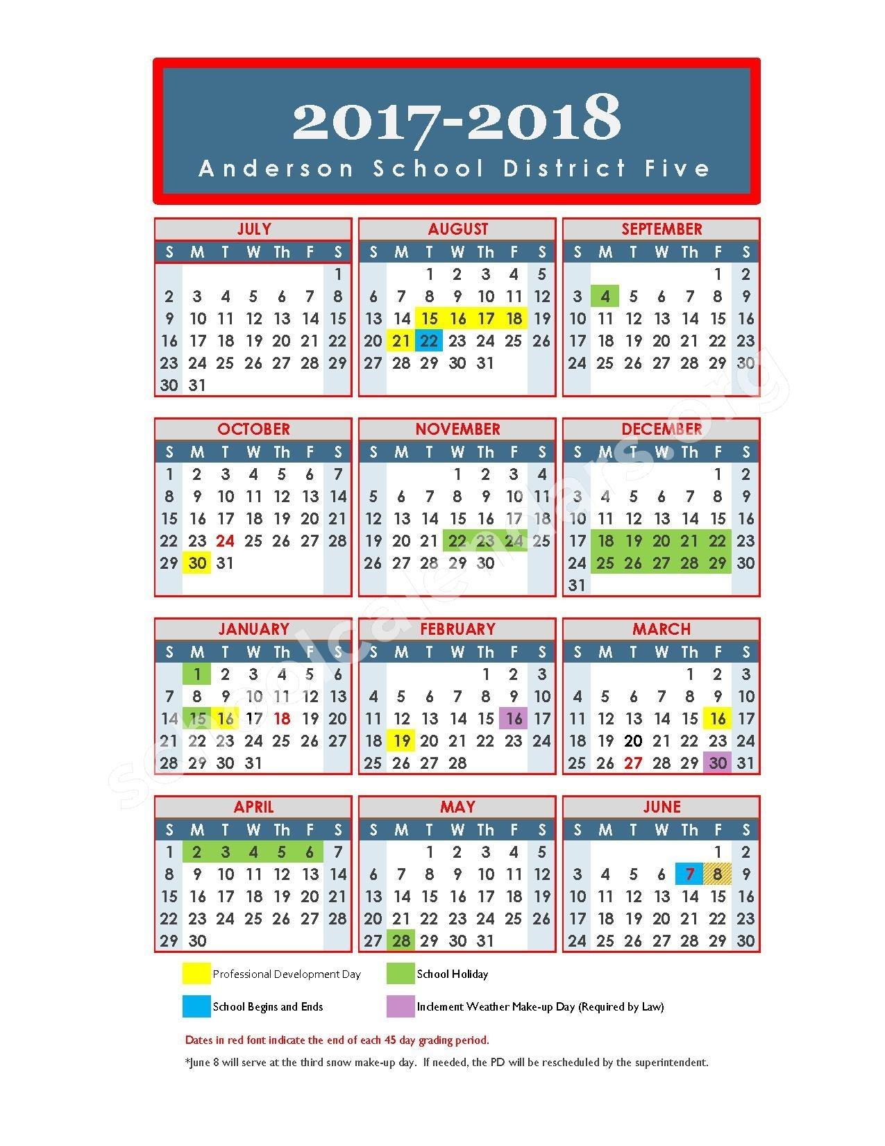 Anderson School District 5 Calendars – Anderson, Sc_Anderson 1 School Calendar