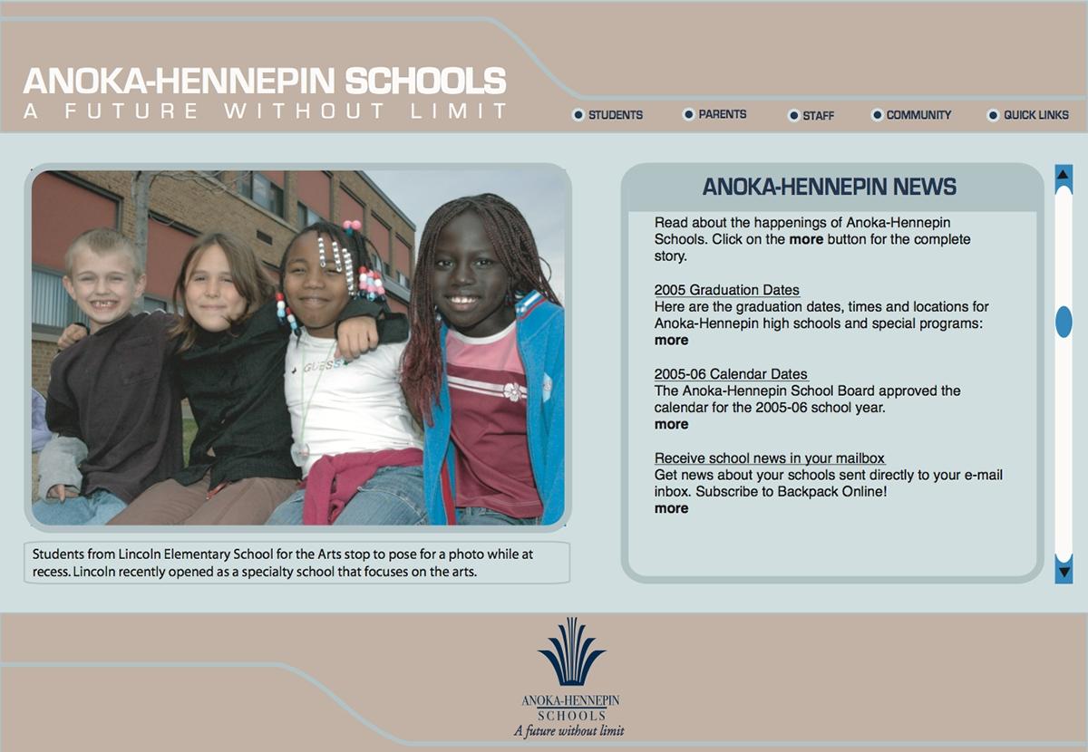 Anoka-Hennepin [Websites] On Behance_School Calendar Anoka Hennepin