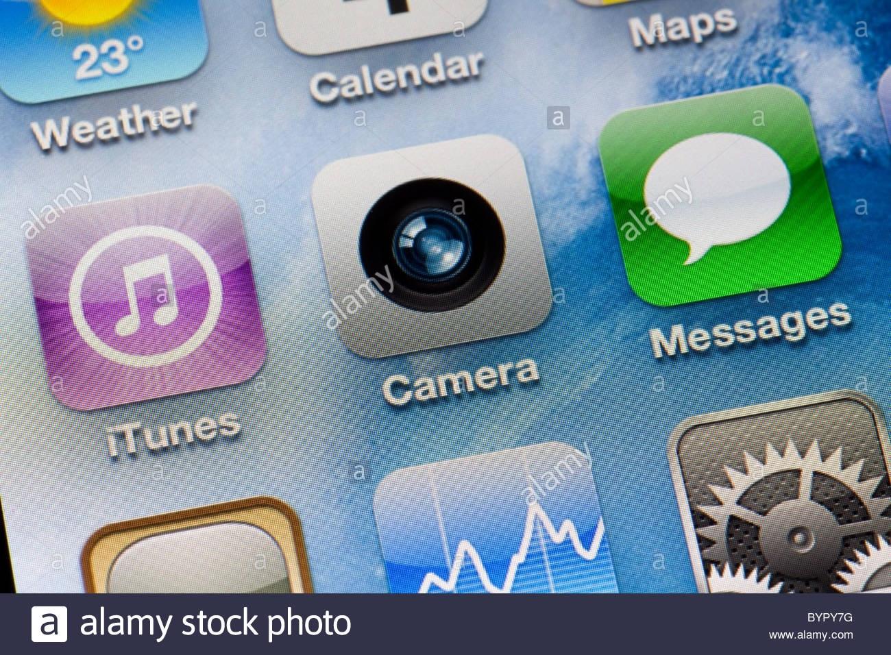 Apple Iphone 4 Ipod Icons Close Up Screen Camera Stock Photo_Iphone 4 Calendar Icon