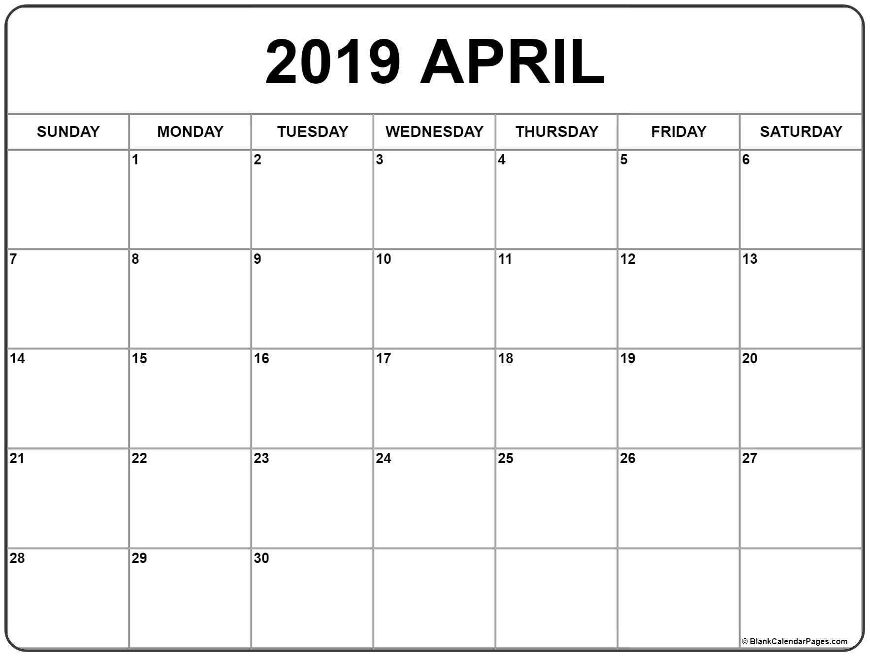 April 2019 Calendar  </p>   </div>        <br>     <div class=