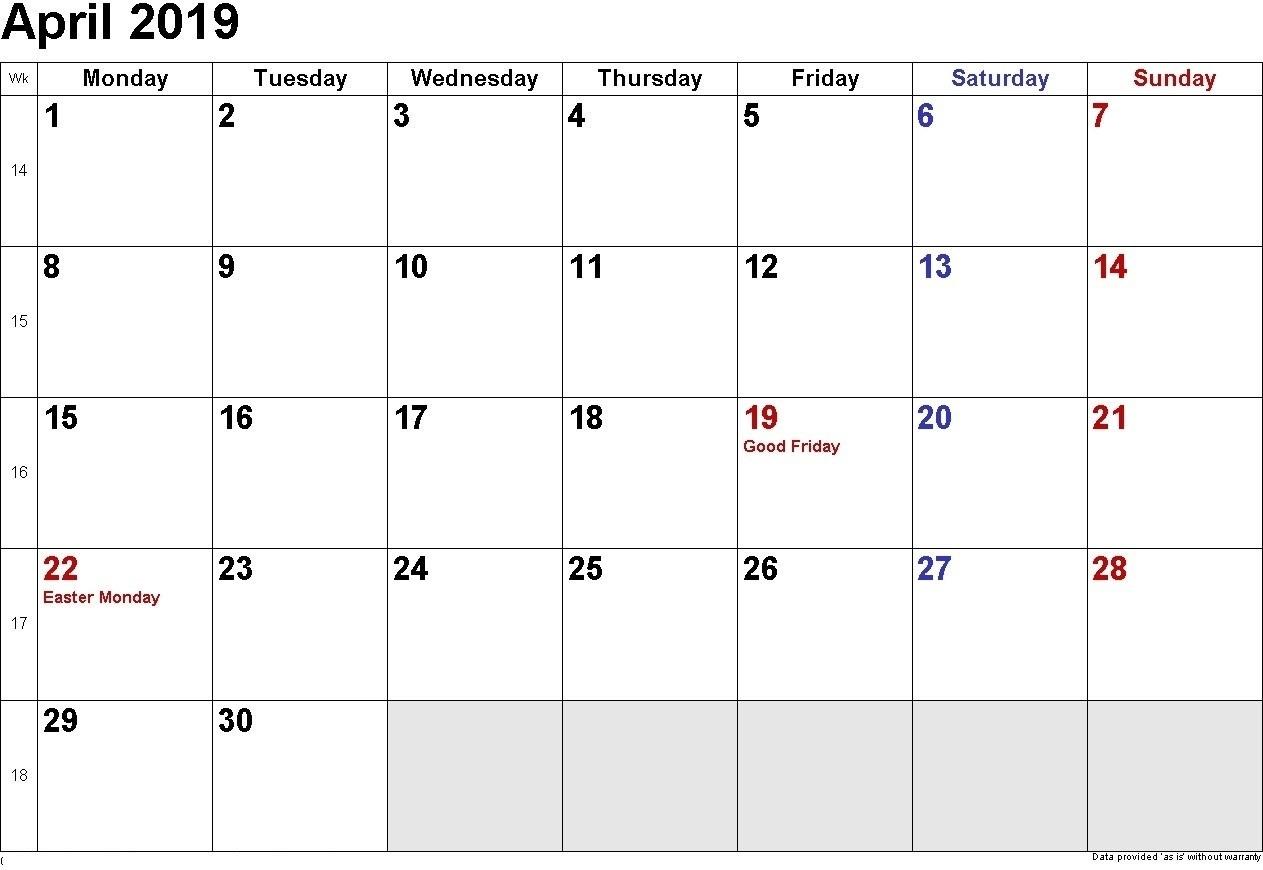 April 2019 Printable Calendar Templates - Free Blank, Holidays_Blank Calendar With Holidays