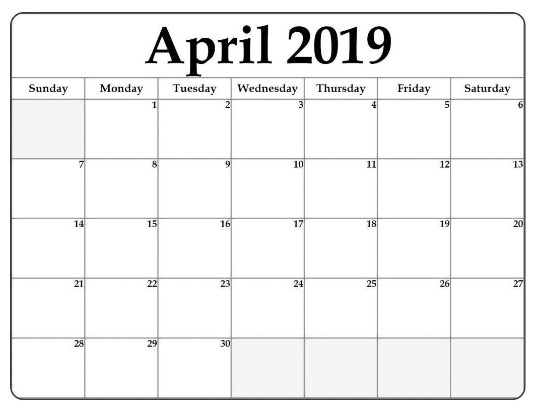 April 2019 Word Calendar Template  </p>   </div>        <br>     <div class=