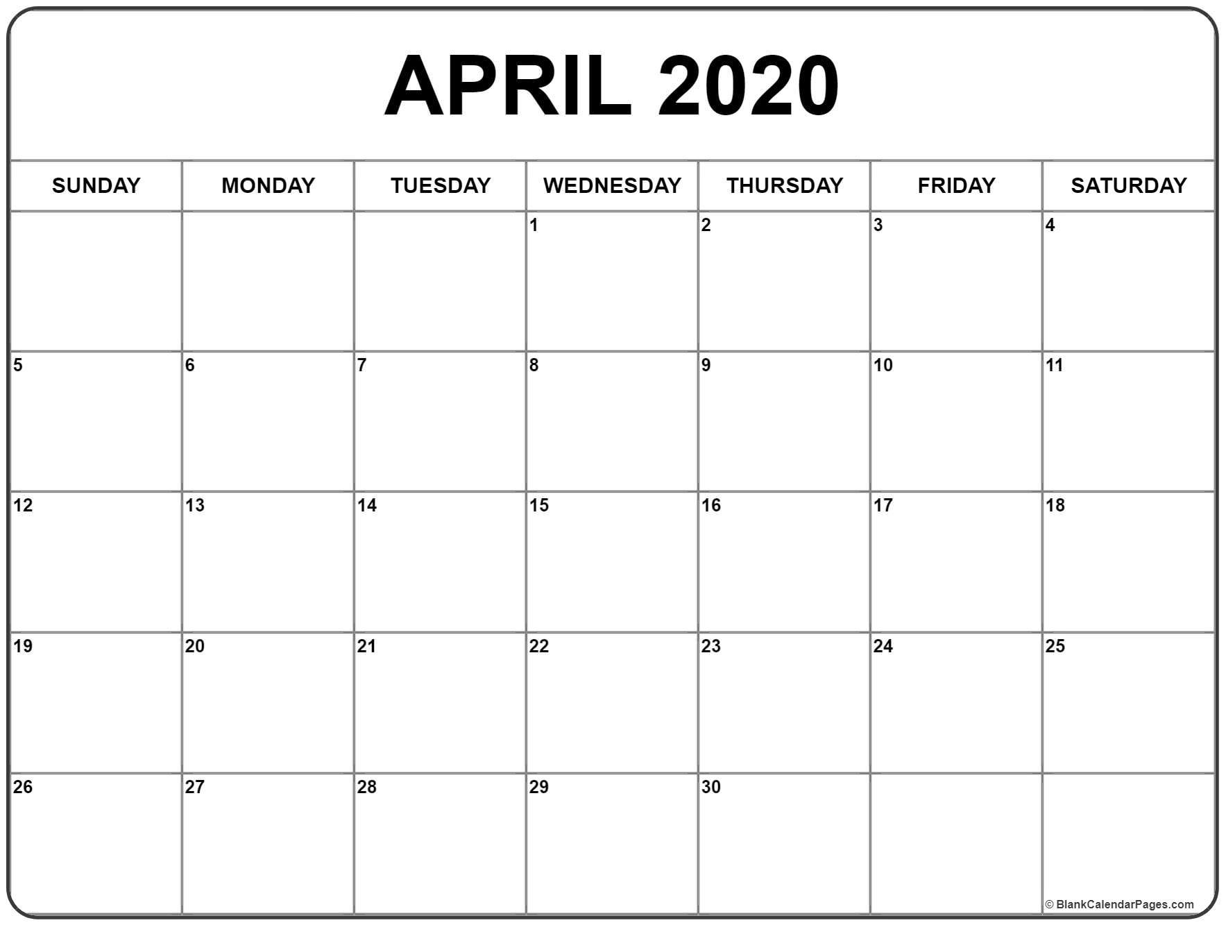 April 2020 Calendar  </p>   </div>        <br>     <div class=