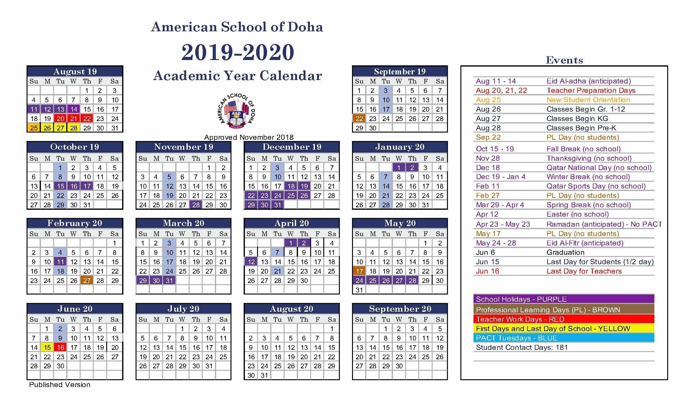 Asd Calendar 2019-2020 - American School Of Doha | International_School Calendar Qatar 2020