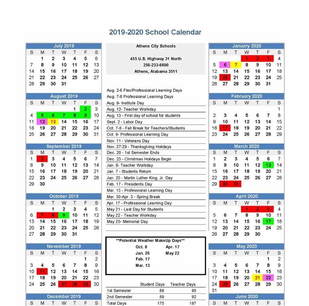 "Athens Middle School A Twitter: ""ams Parents, The Athens City Board_U City School Calendar"