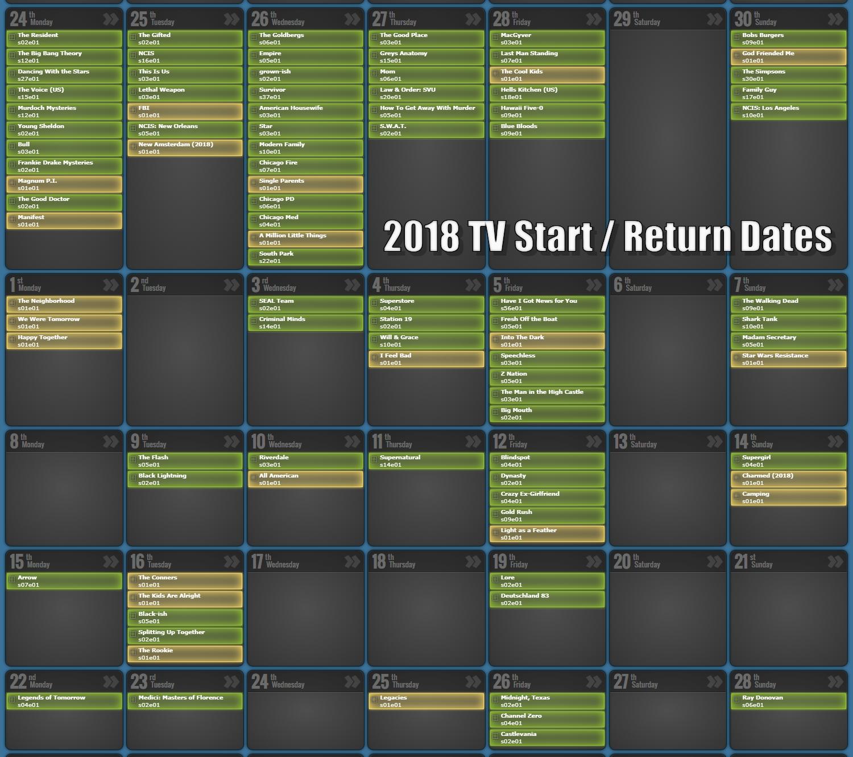 August 2019 Tv Episode Calendar - Prime Time Tv Show Schedule & Tv_Calendar Countdown Tv Show
