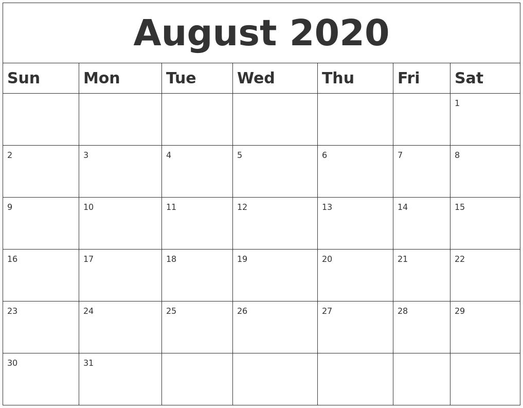 August 2020 Blank Calendar_Blank Calendar Of August 2020