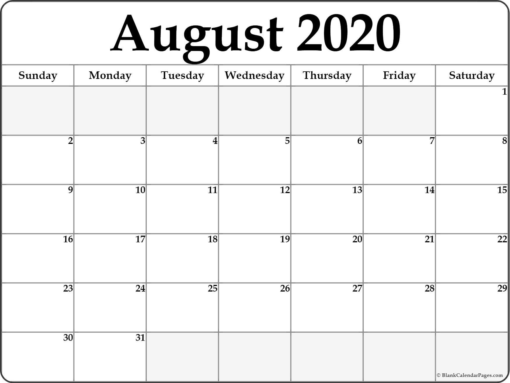 August 2020 Calendar  </p>   </div>        <br>     <div class=