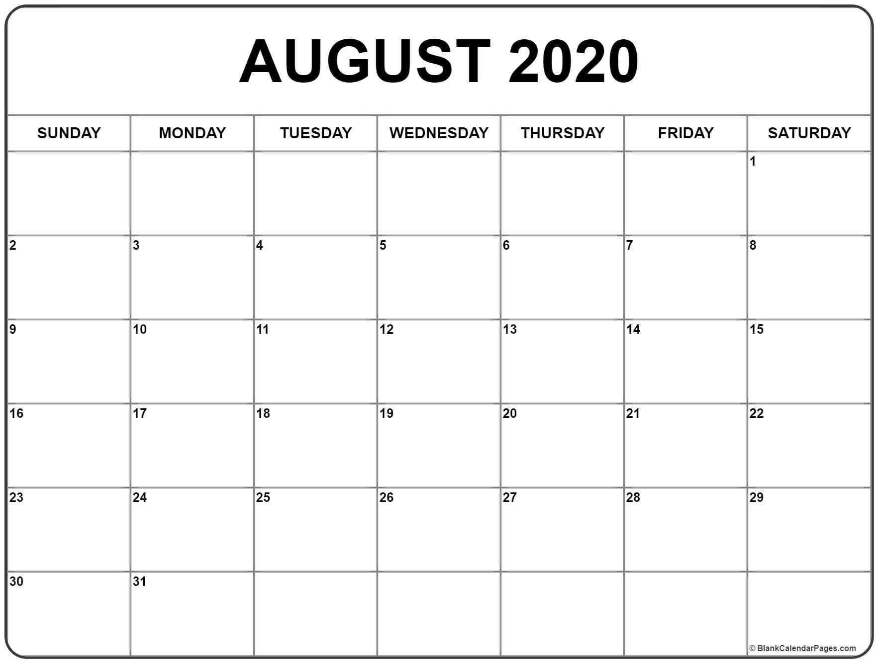 August 2020 Calendar | Free Printable Monthly Calendars_Monthly Calendar Blank 2020