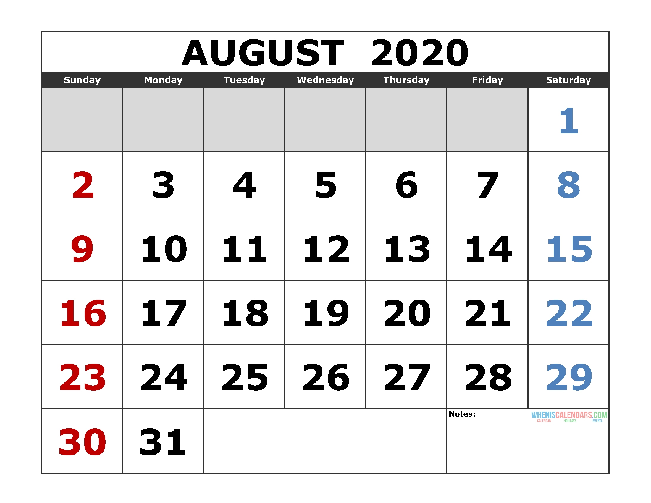 August 2020 Printable Calendar Template Excel, Pdf, Image [Us_Blank Calendar August 2020 Pdf