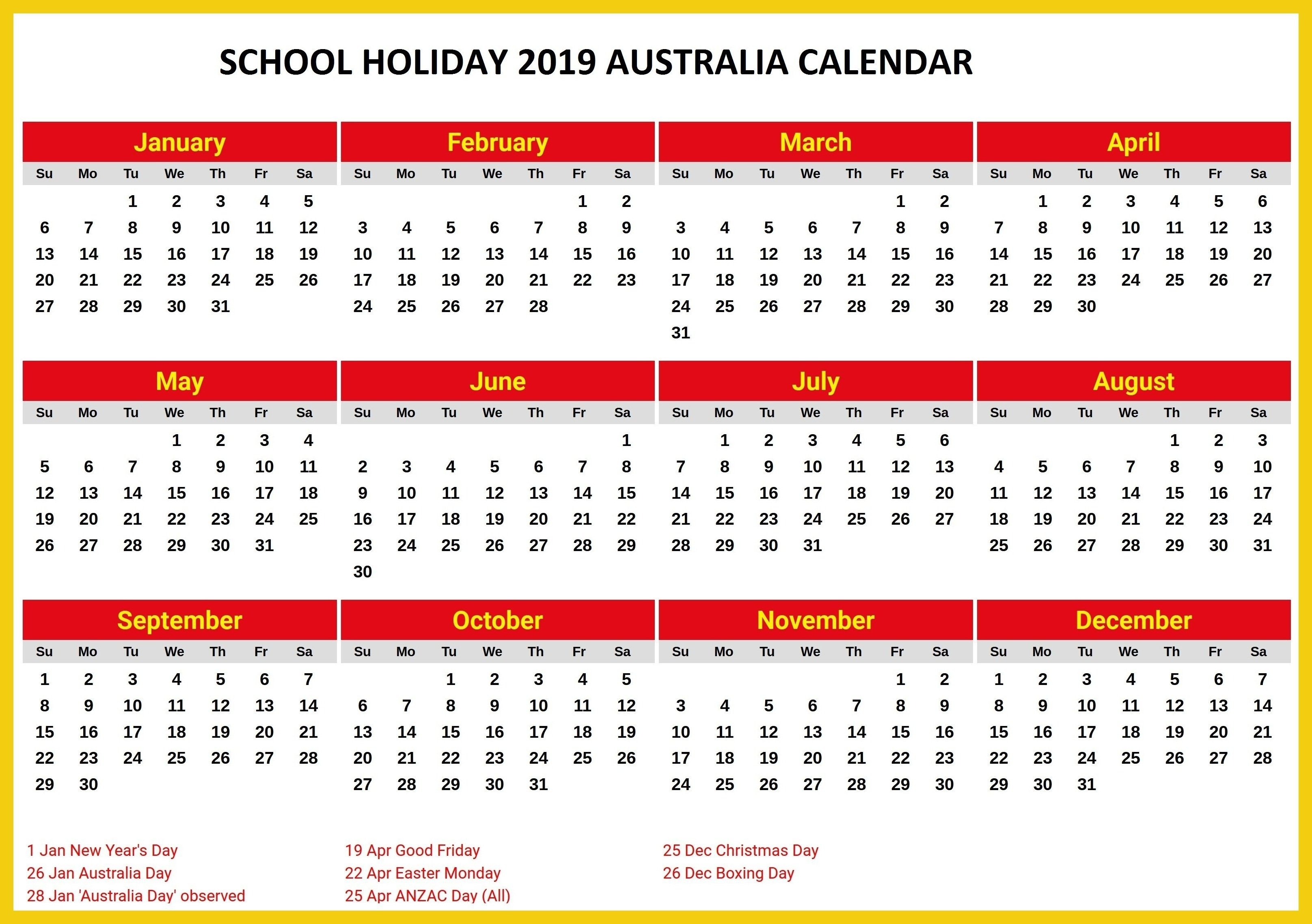 Australia 2019 School Holidays Printable Calendar | 2019 Calendars_School Year Calendar Australia