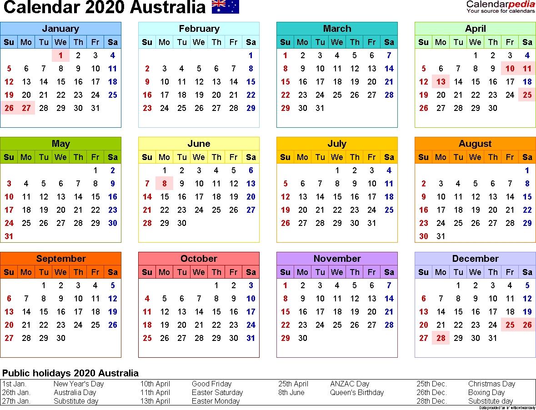 Australia Calendar 2020 - Free Printable Pdf Templates_School Calendar Wa 2020