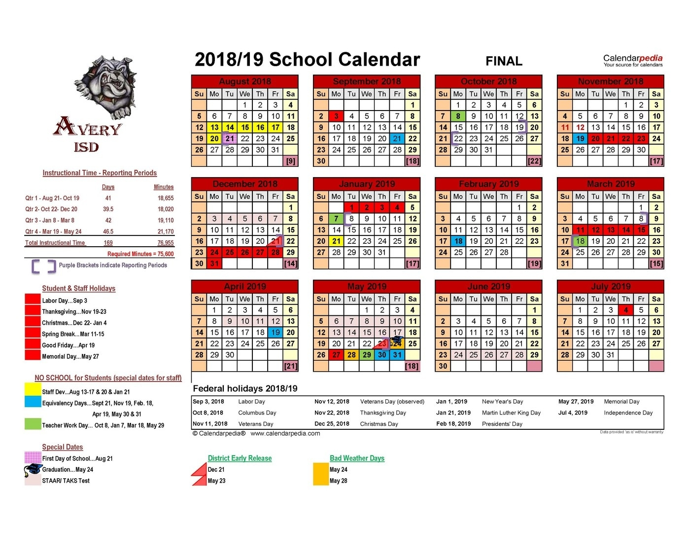 Avery Isd - 2018 - 2019 Avery Isd District Calendar Final_District 6 School Calendar