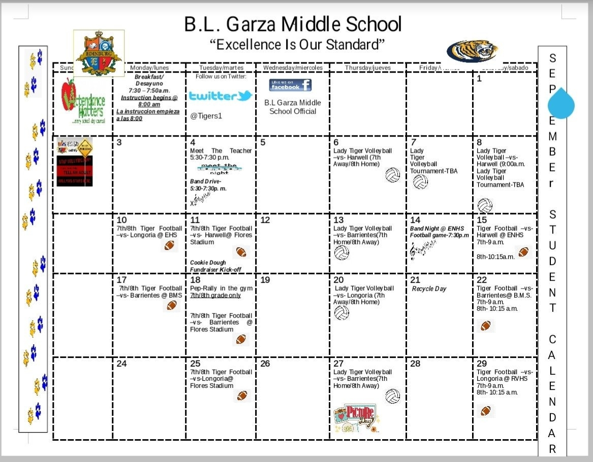 "B.l. Garza On Twitter: ""september Calendar Of Events. Parents Don't_B Garza Middle School Calendar"