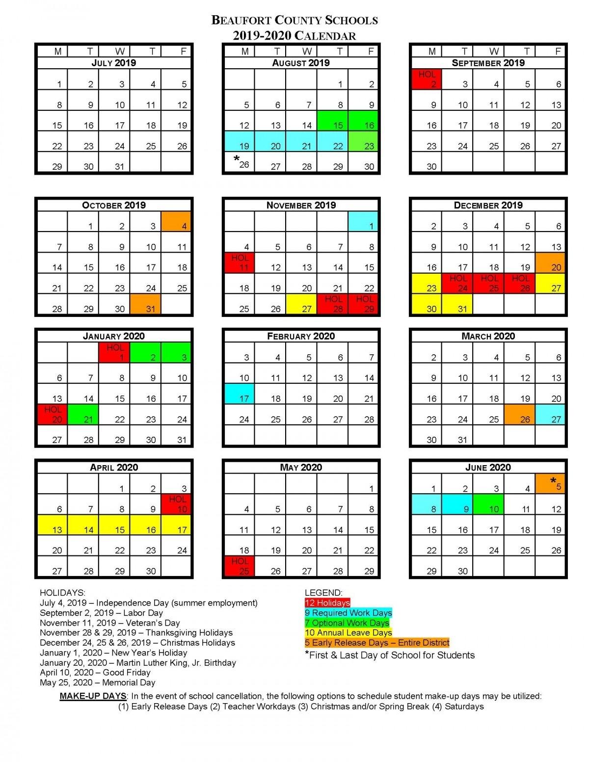 Bcs School Calendars | Beaufort County Schools_School Calendar North Carolina