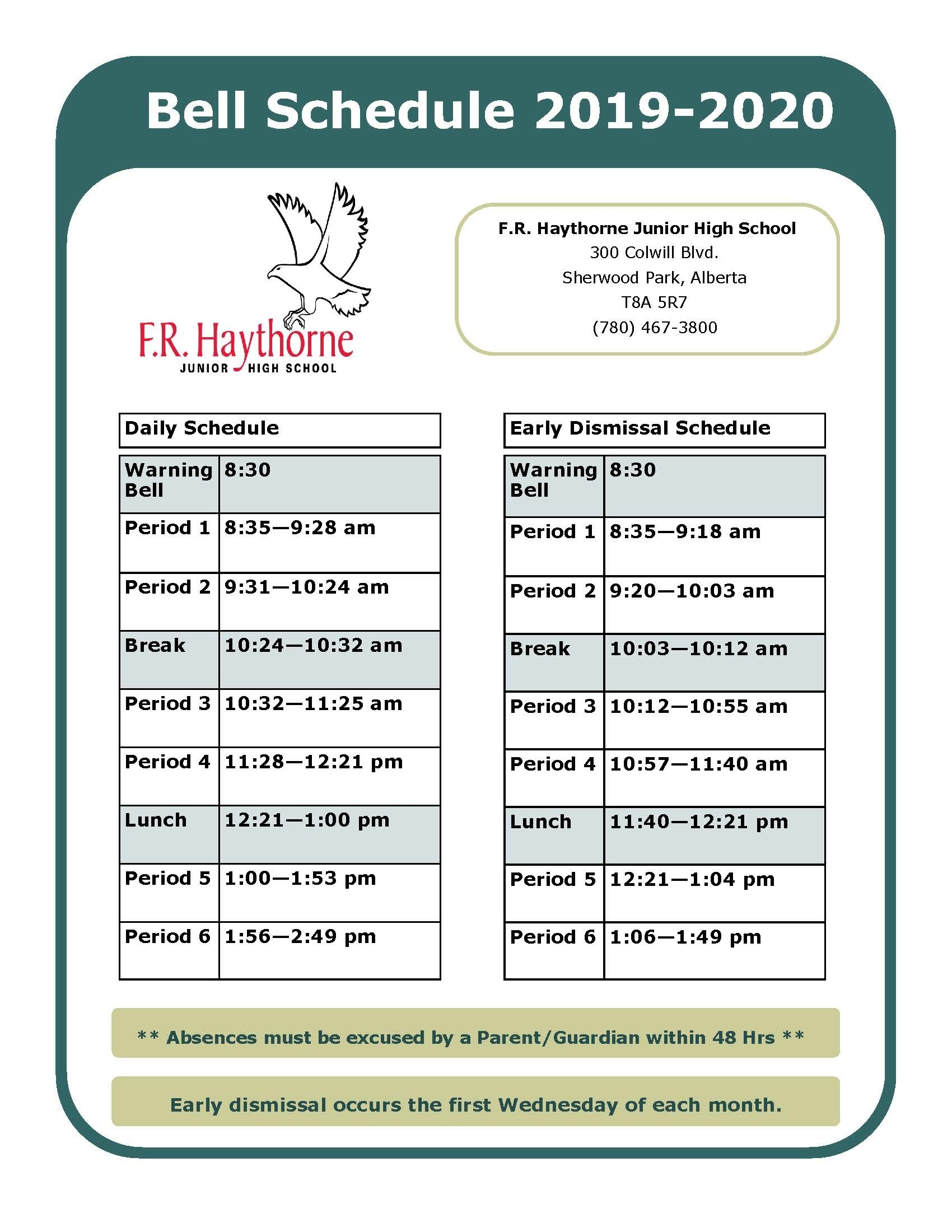 Bell Schedule  </p>   </div>        <br>     <div class=