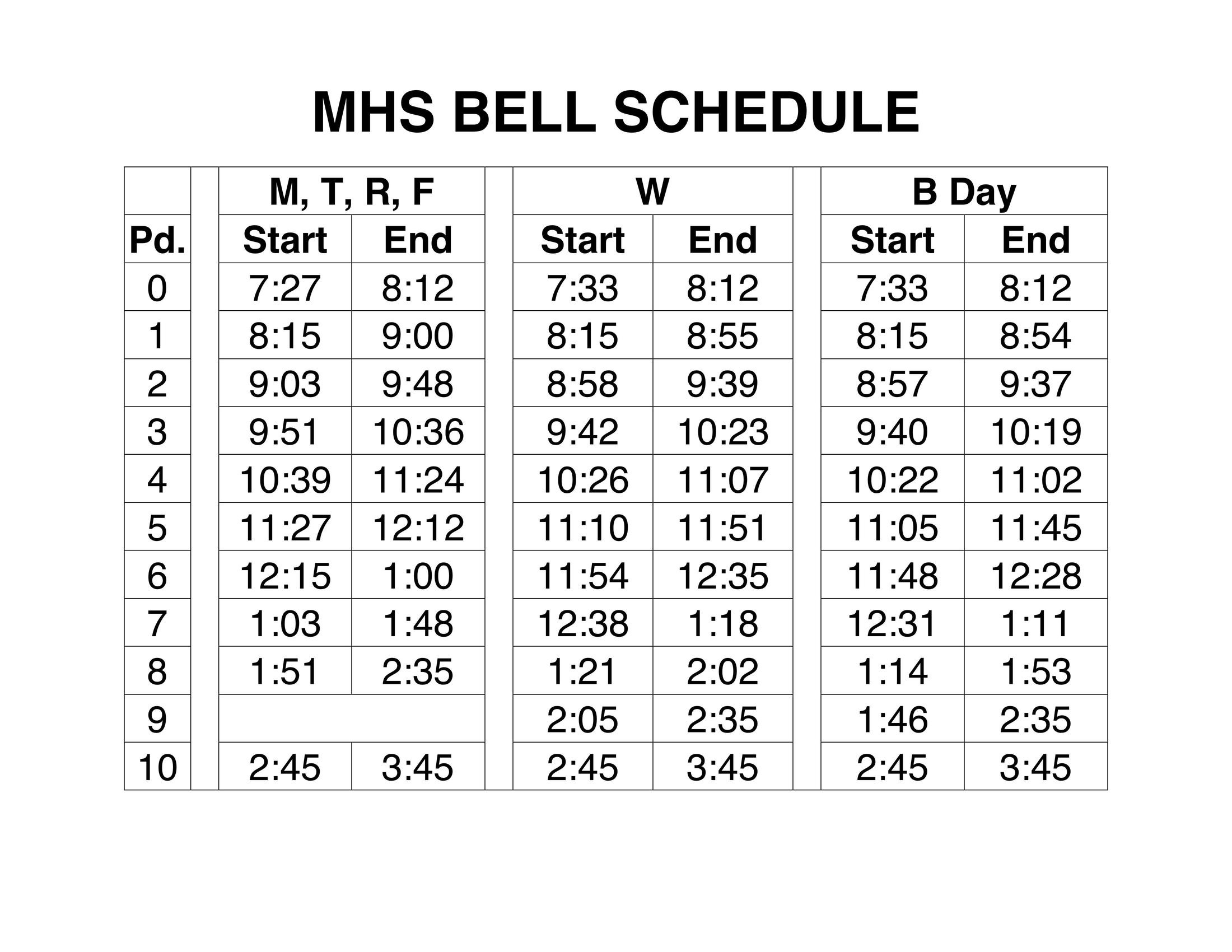 Bell Schedule - Miscellaneous - Maspeth High School_School Calendar Queens Ny