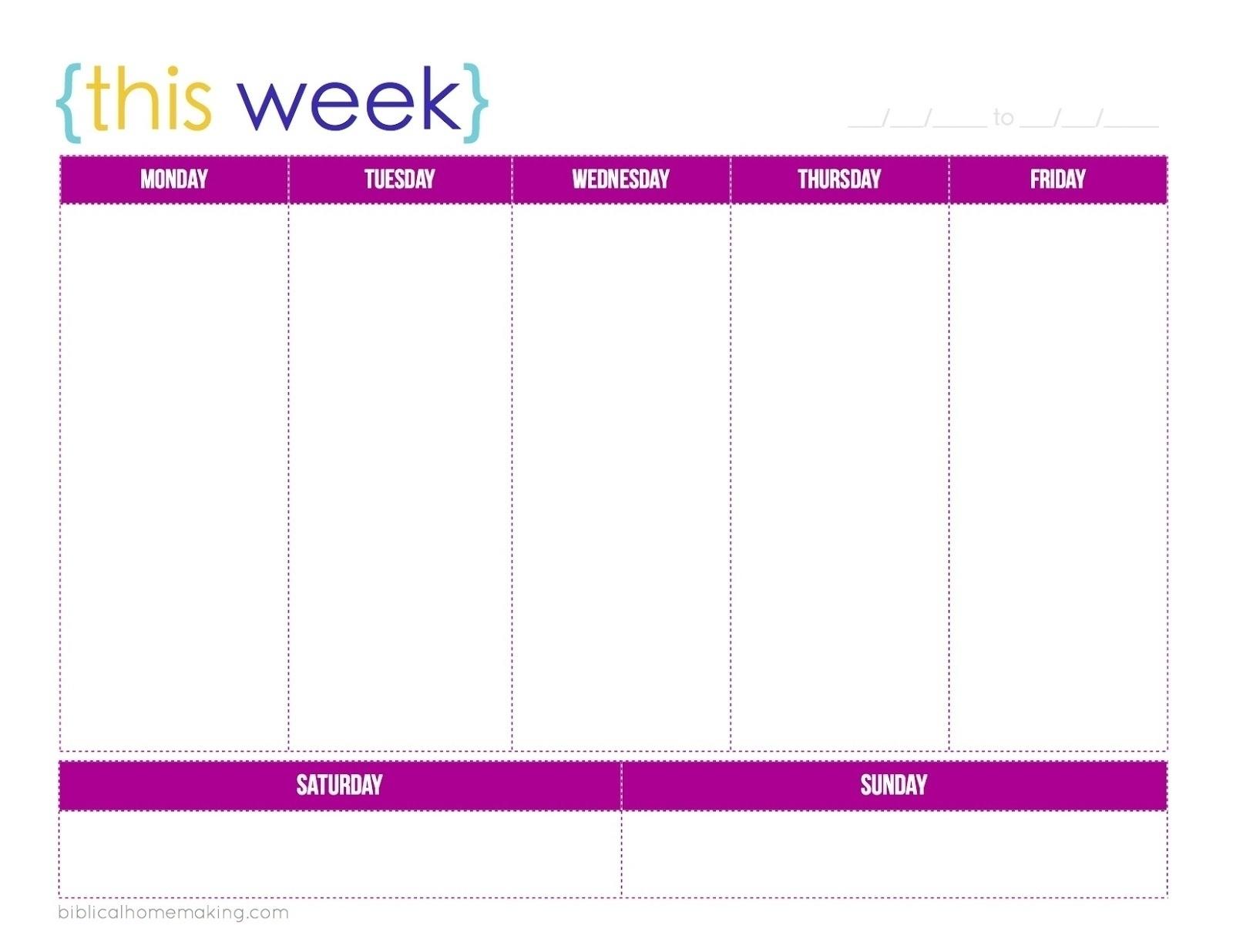 Blank 5 Day Calendar Printable | Template Calendar Printable_5 Day Calendar Blank
