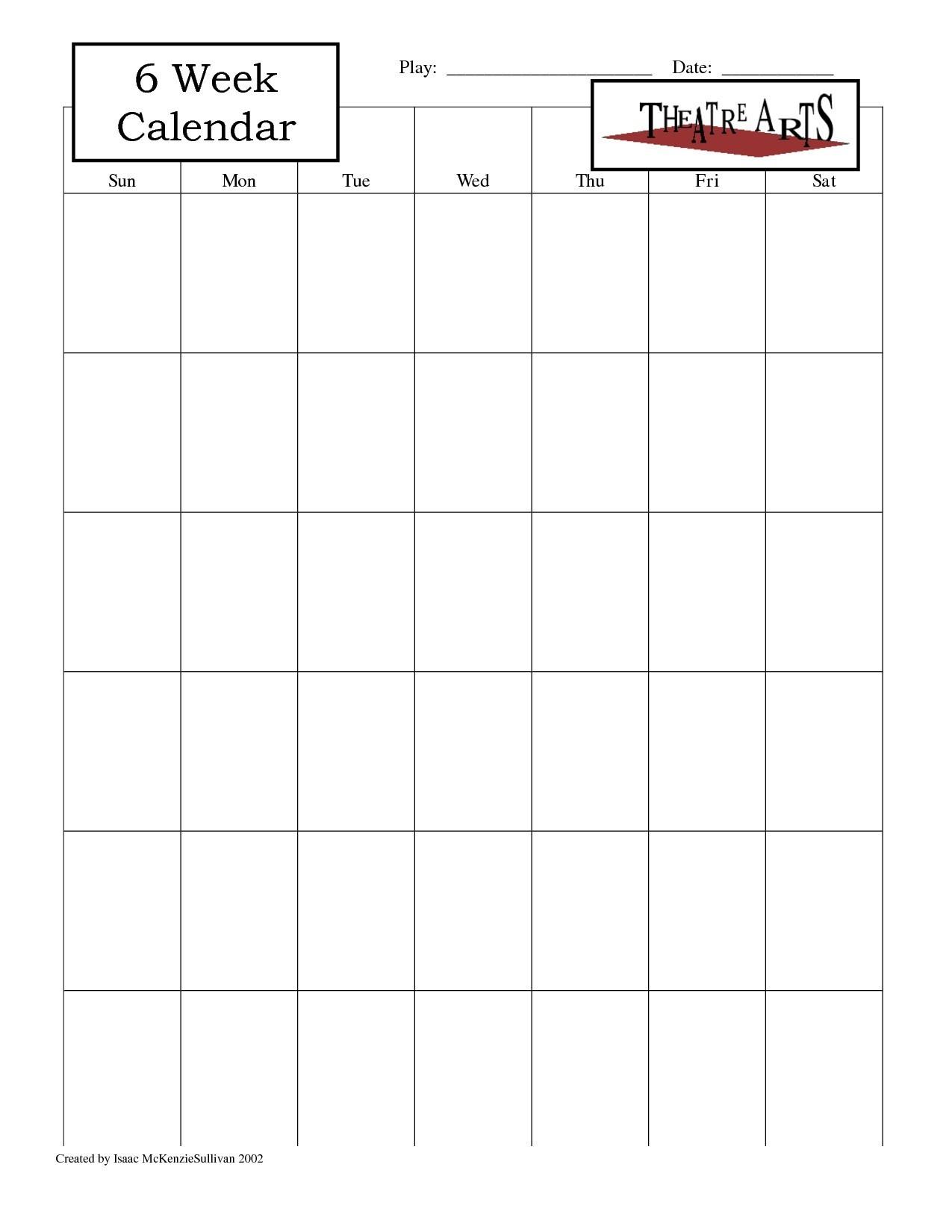 Blank 6 Week Calendar Template With Weeks 25971 Also On 6 Week_Blank Calendar Template 6 Weeks