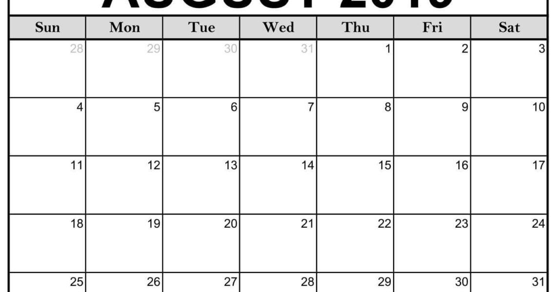 Blank August 2019 Calendar Printable #editable #templates | August_Blank Calendar You Can Edit