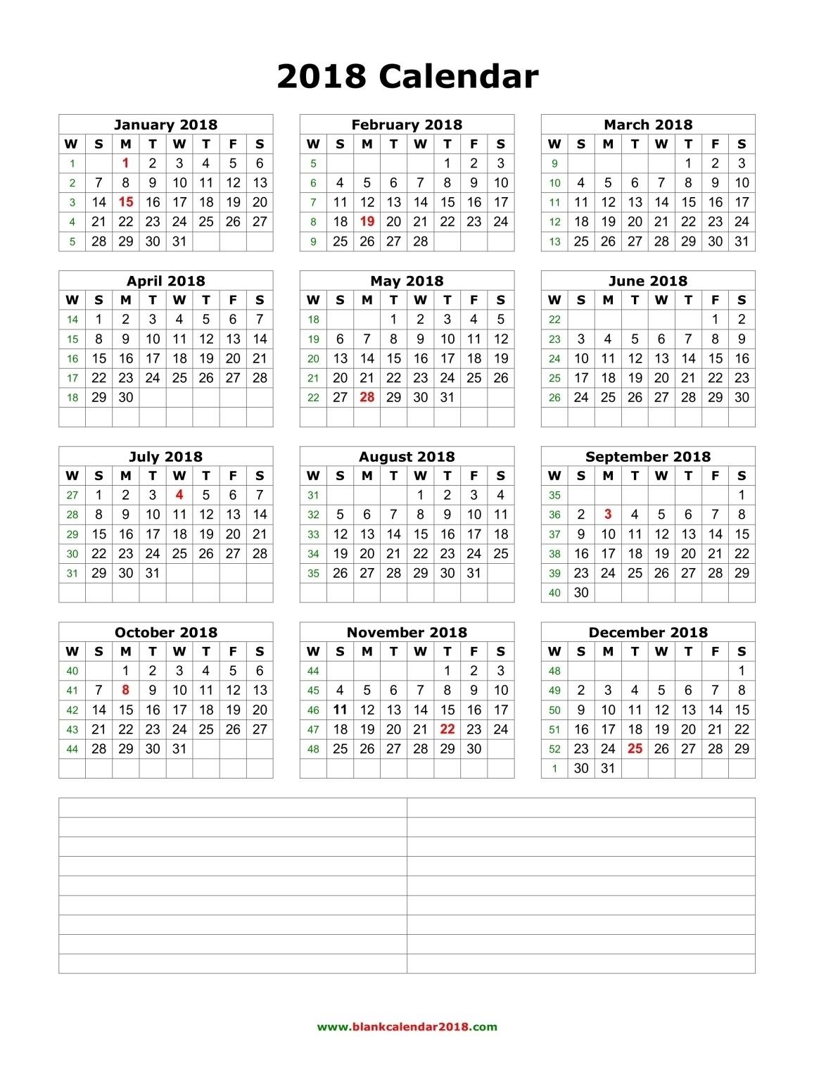 Blank Calendar 2018_3 Week Blank Calendar