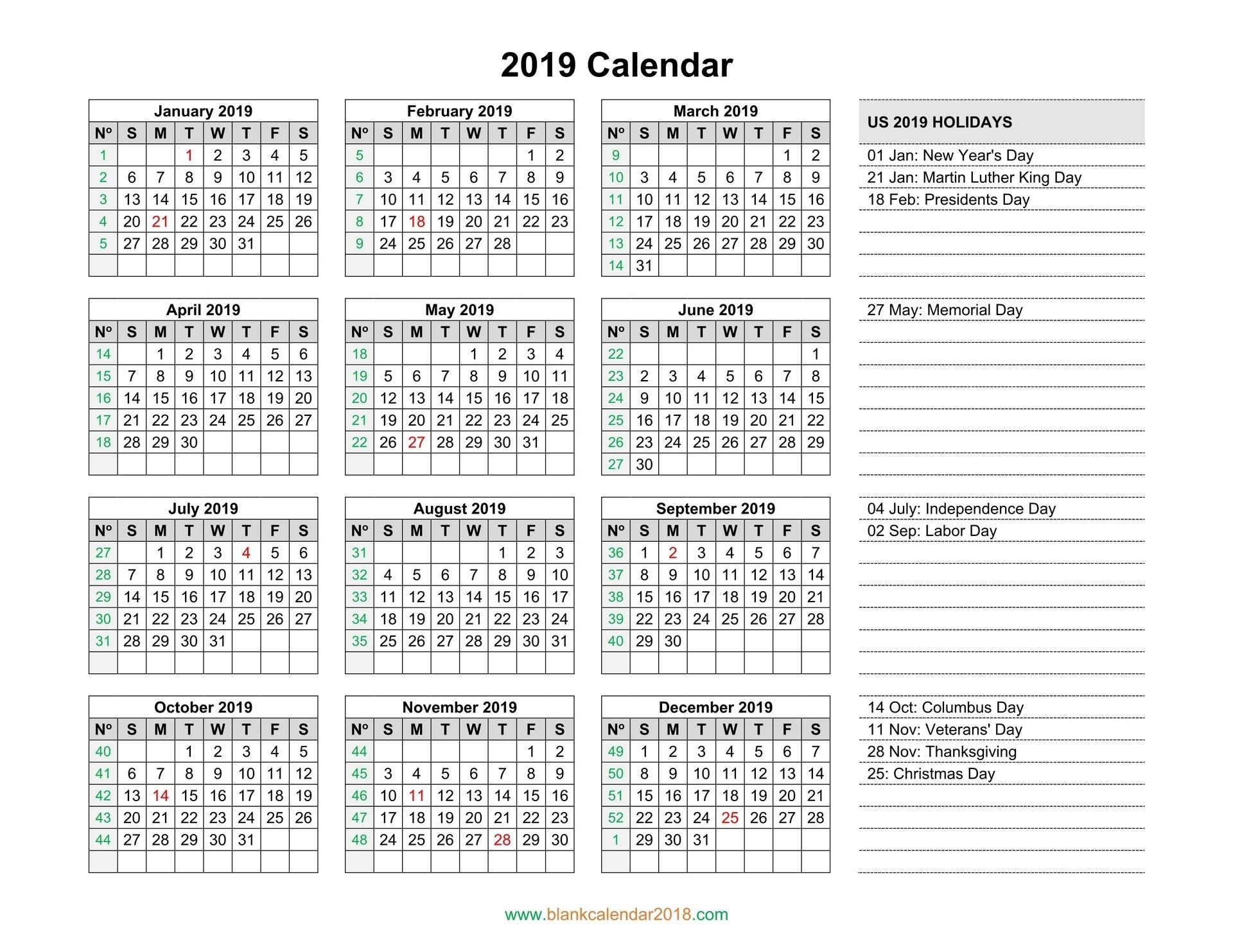 Blank Calendar 2019_Blank Calendar With Holidays