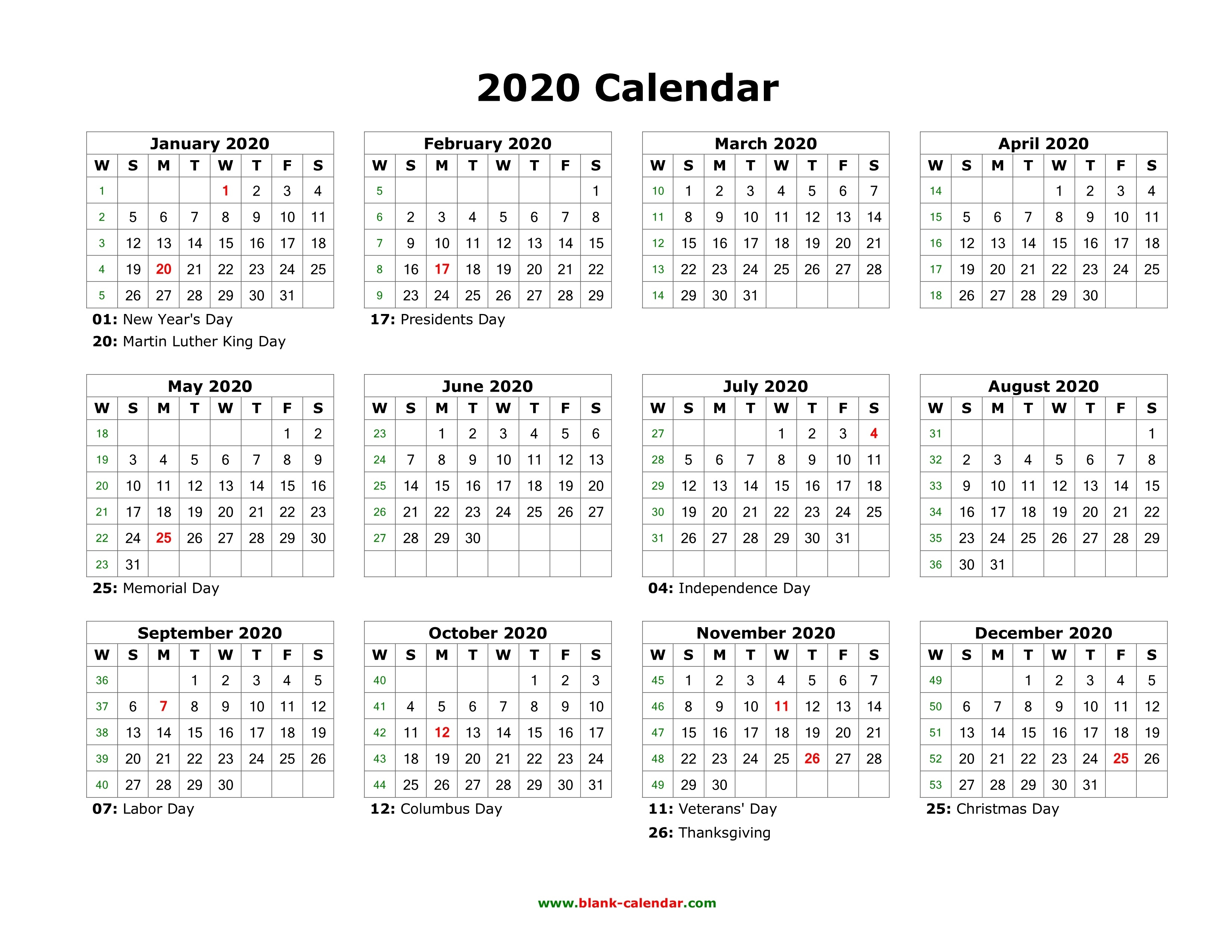 Blank Calendar 2020  </p>   </div>        <br>     <div class=