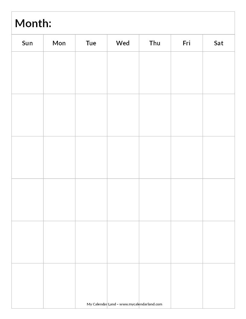 Blank-Calendar-6-Weeks-Portrait-C … | Everything Else.for Now_1 Week Calendar Blank