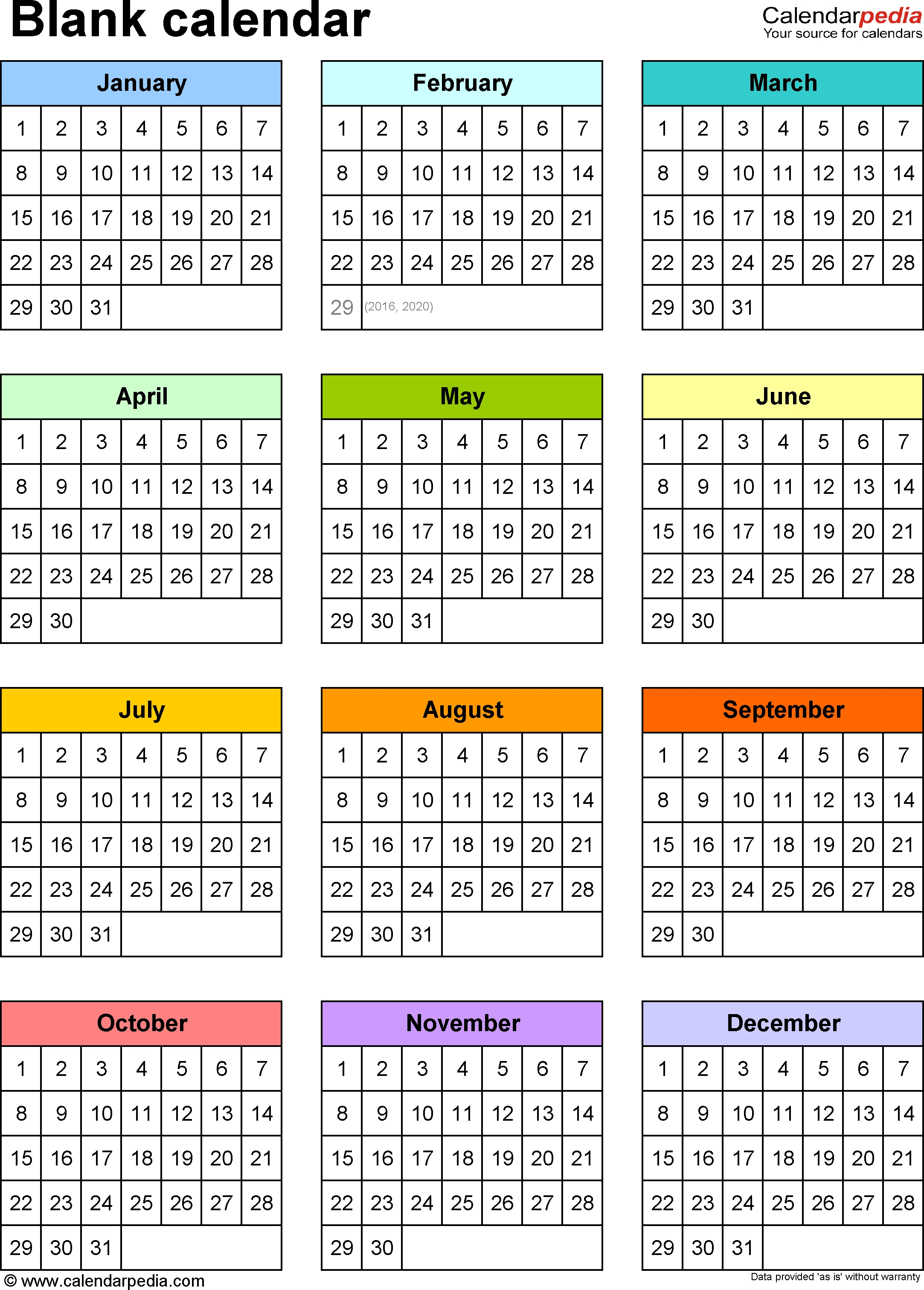 Blank Calendar - 9 Free Printable Microsoft Word Templates_Blank Calendar Year At A Glance