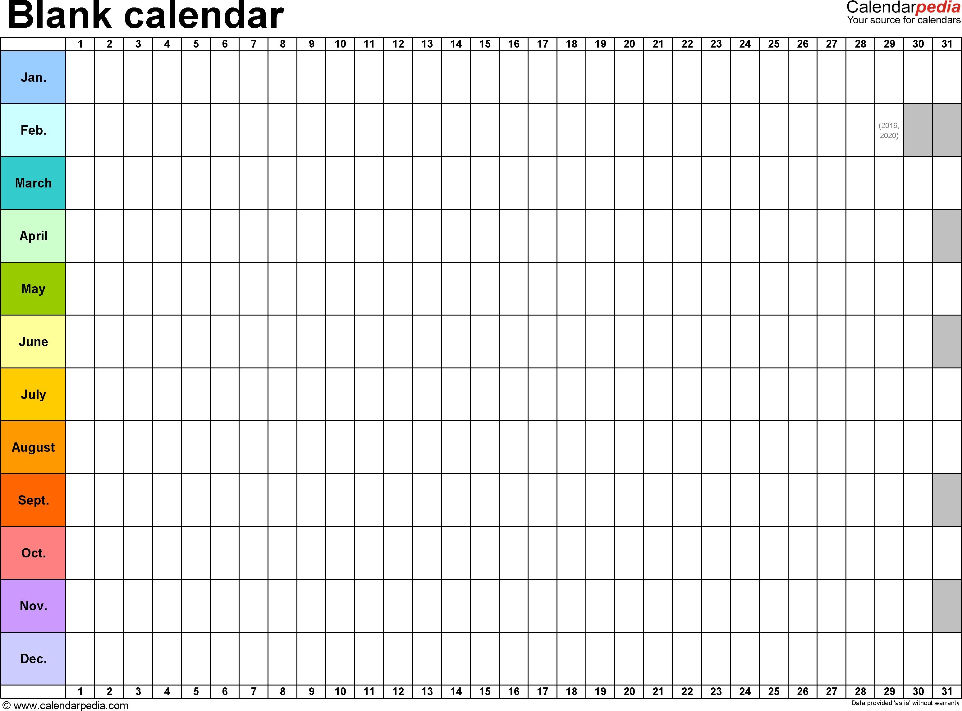 Blank Calendar - 9 Free Printable Microsoft Word Templates_Countdown Calendar Template Word