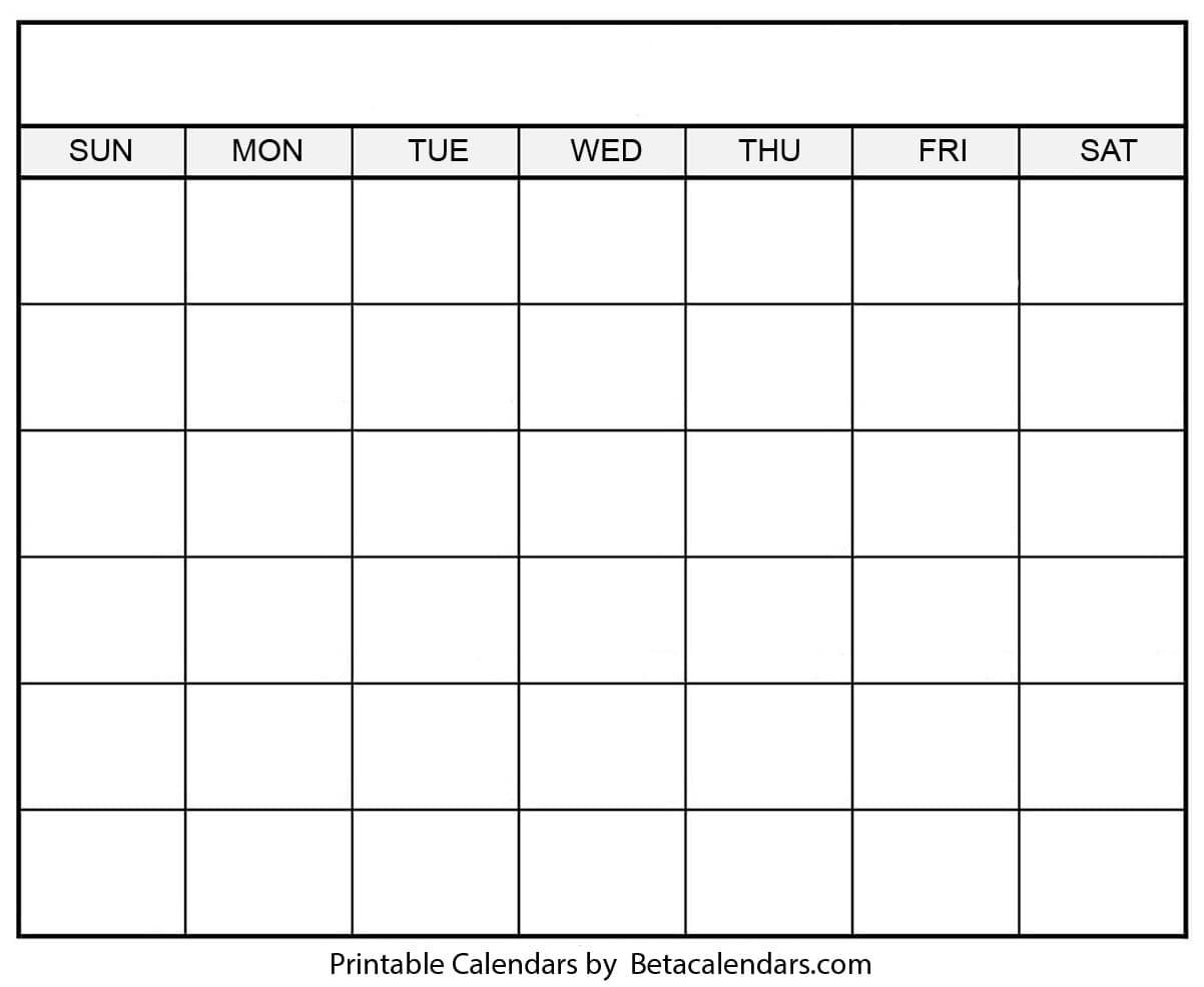 Blank Calendar - Beta Calendars_A Printable Blank Calendar