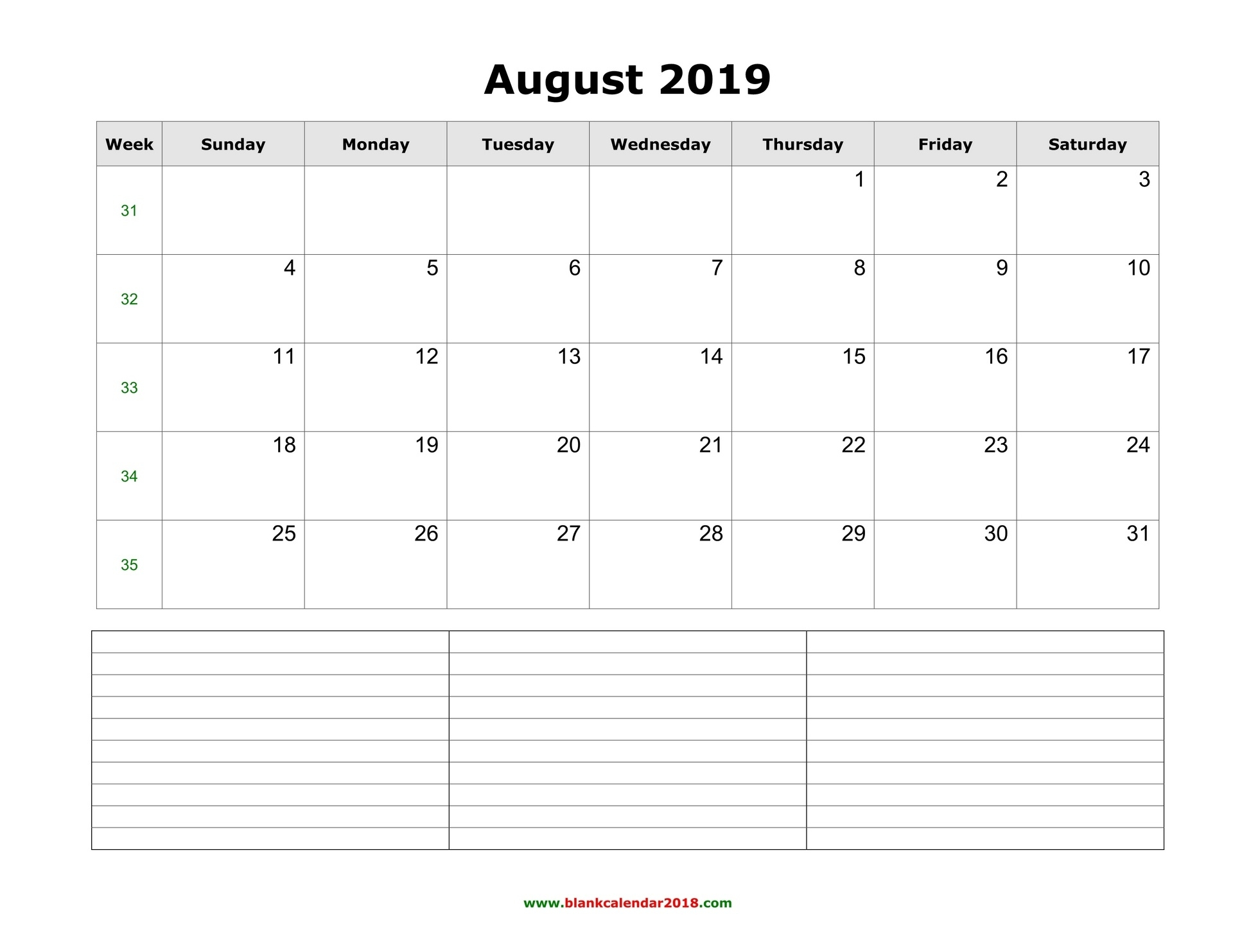 Blank Calendar For August 2019_Blank Calendar 4 Weeks
