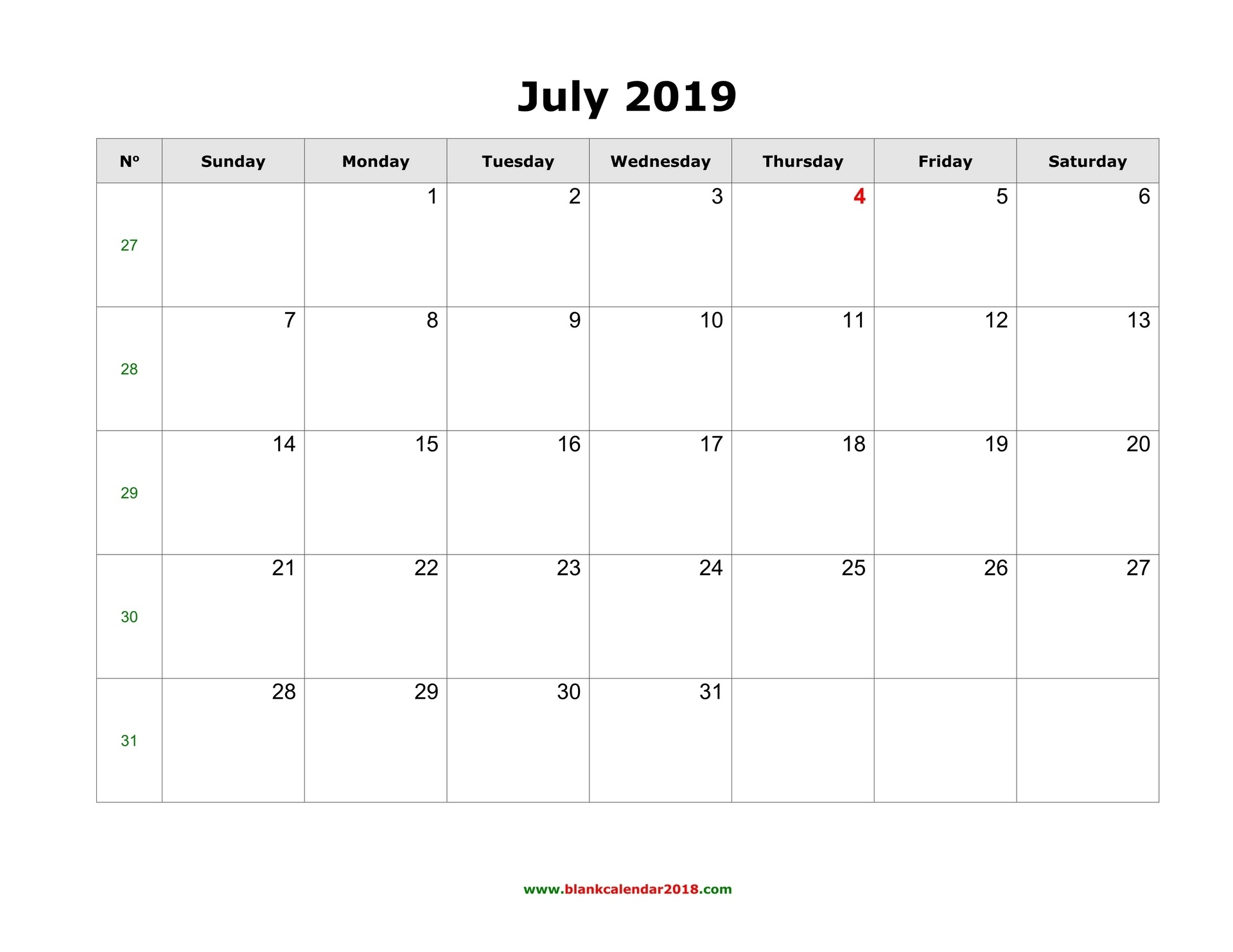 Blank Calendar For July 2019_Blank Calendar Can Type In