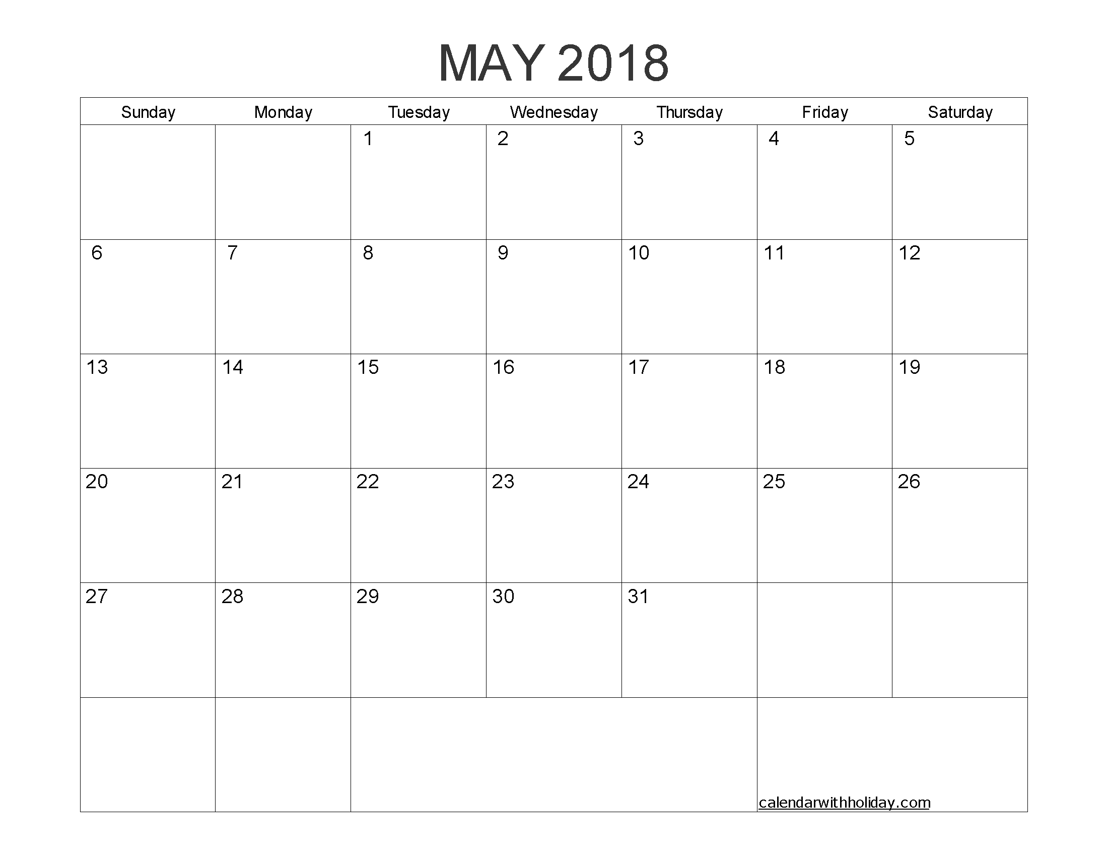 Blank Calendar May 2018 Printable 1 Month Calendar Template  </p>   </div>        <br>     <div class=