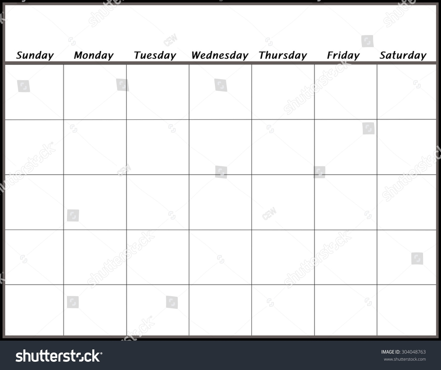 Blank Calendar Page Days No Year Stock Illustration 304048763_Blank Calendar No Year