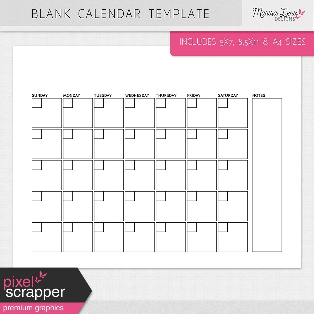 Blank Calendar Templates Kit By Marisa Lerin Graphics Kit | Pixel_8 X 11 Blank Calendar Template