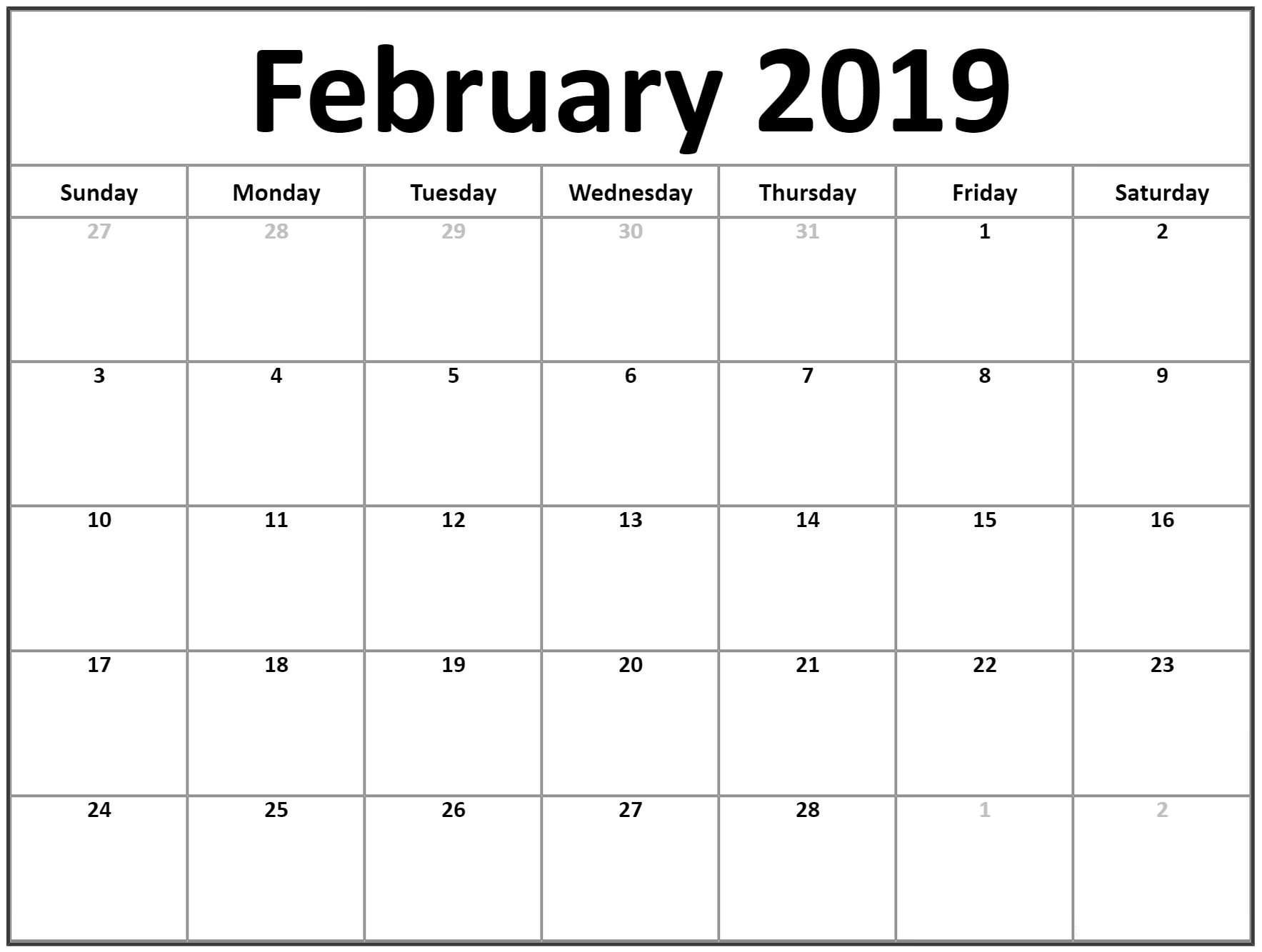 Blank February 2019 Calendar Printable - Free Printable Calendar_Calendar Blank Templates Free