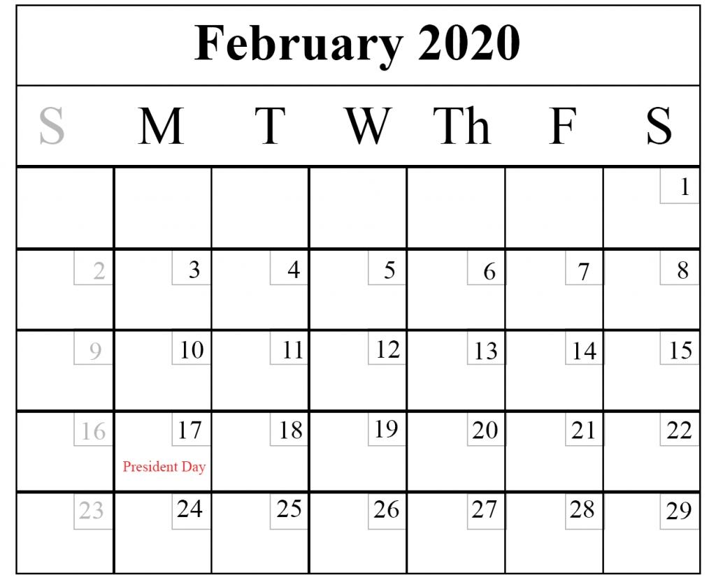 Blank February 2020 Calendar Printable Template – Pdf Word Excel_Blank Horizontal Calendar 2020