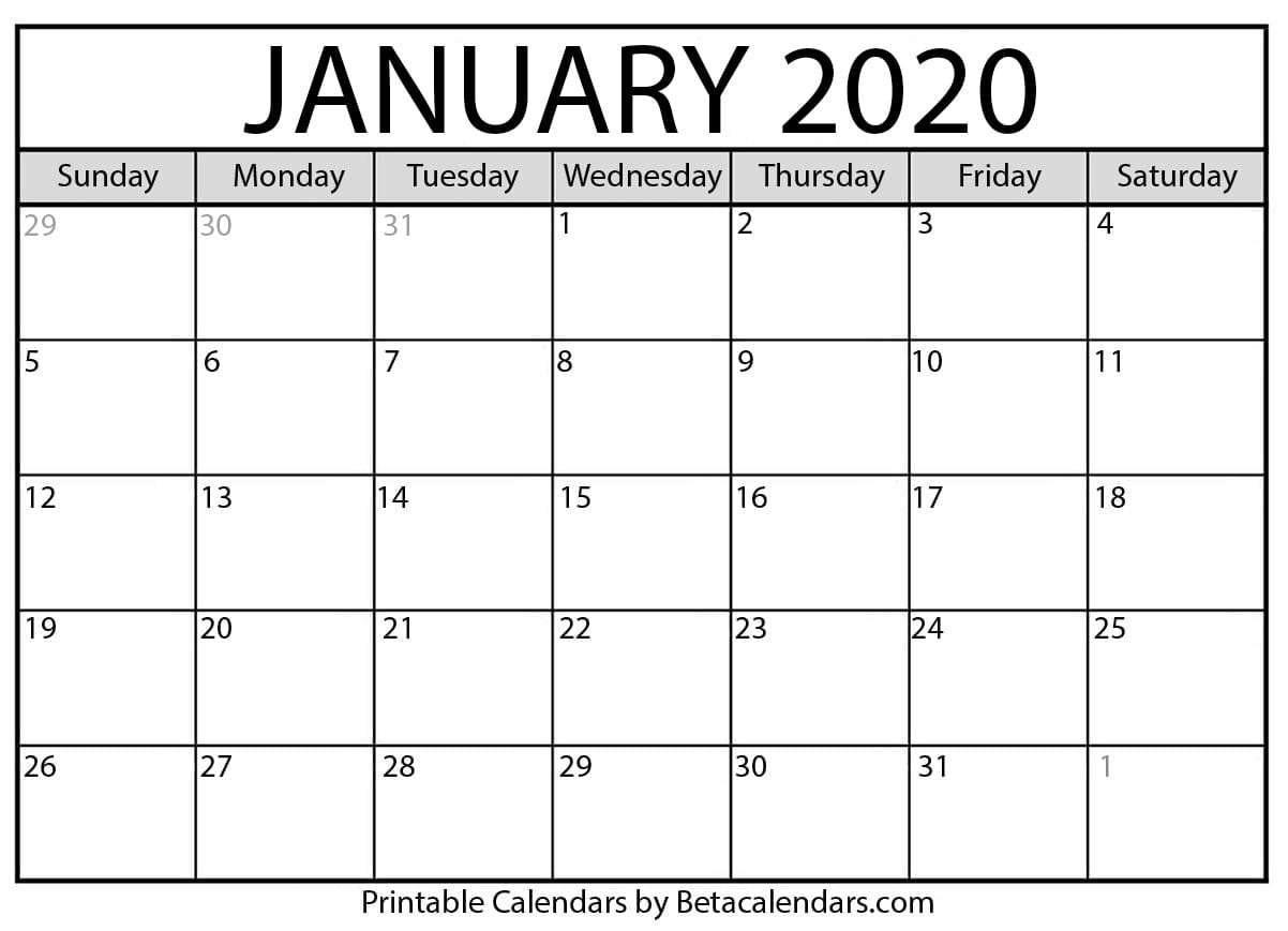 Blank January 2020 Calendar Printable - Beta Calendars_Monthly Calendar Blank 2020