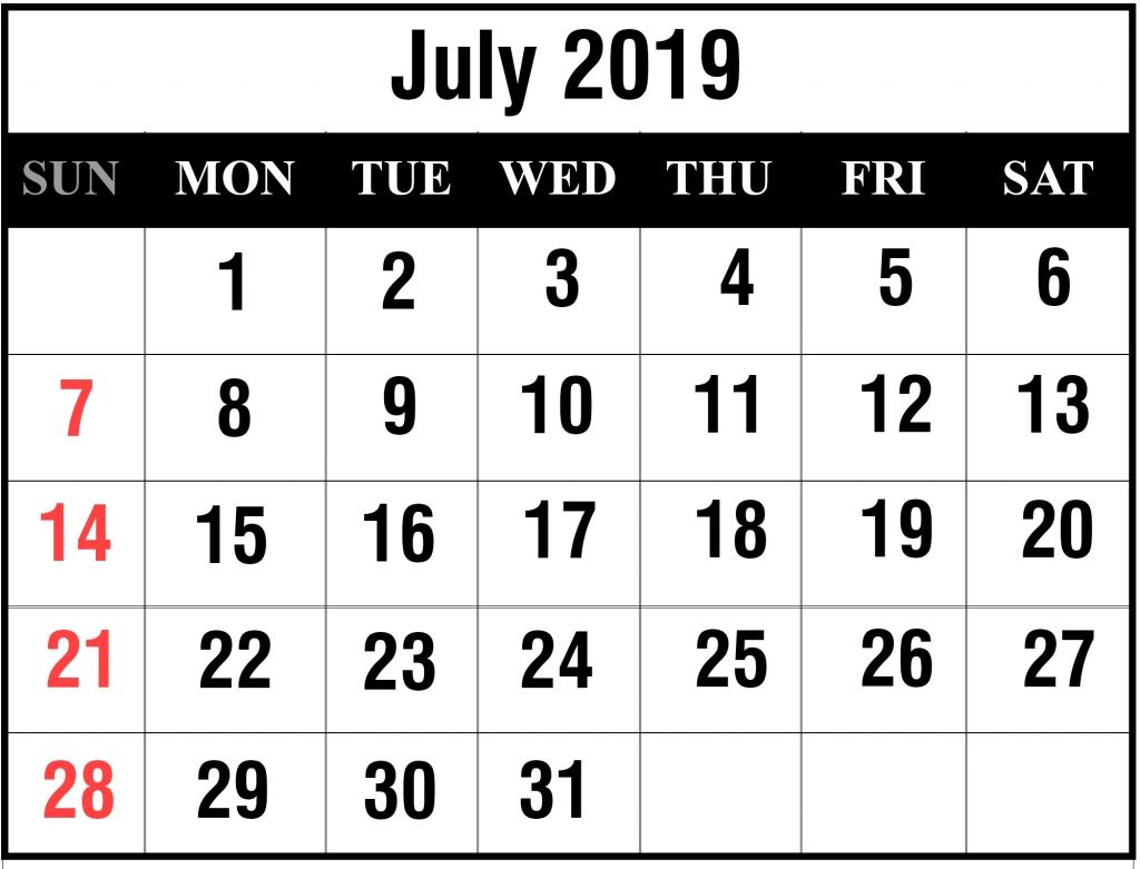 Blank July 2019 Calendar Printable In Pdf, Word, Excel | Printable_Blank Calendar July 17
