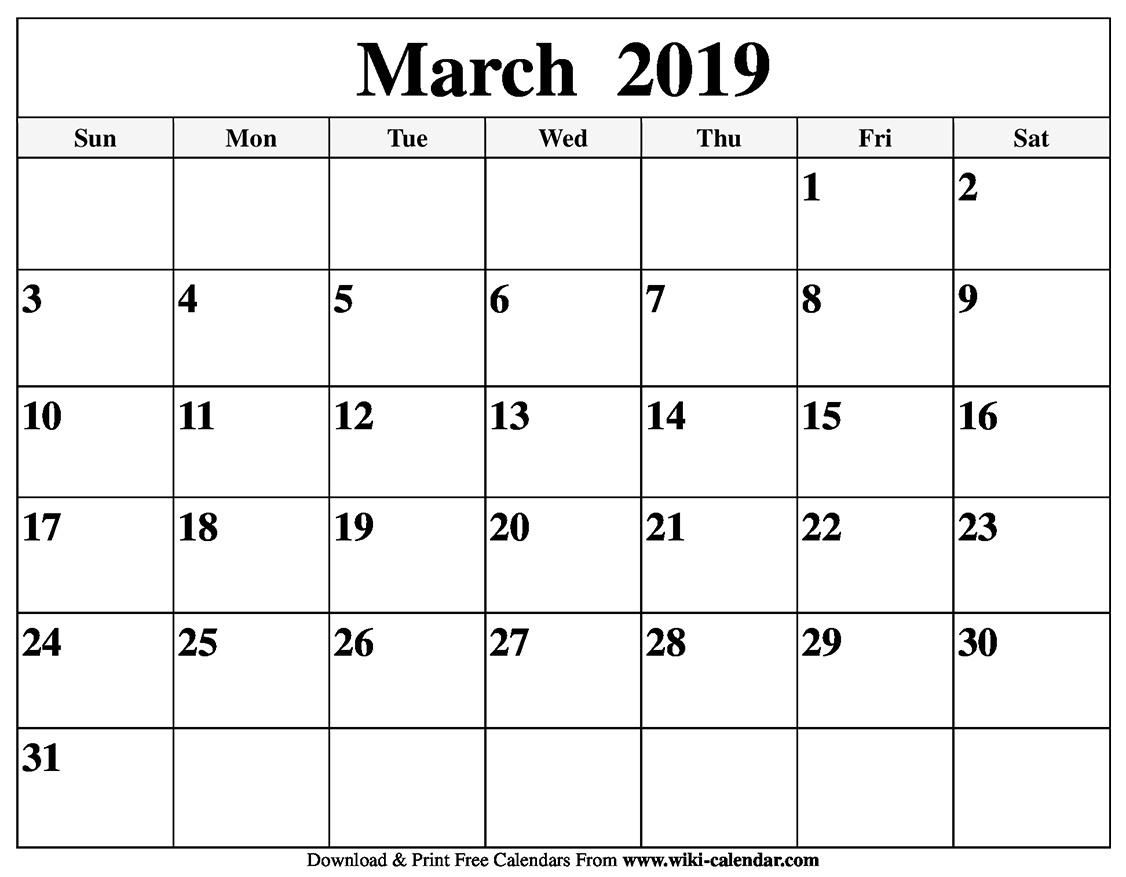 Blank March 2019 Calendar Printable_Calendar Blank Templates Free