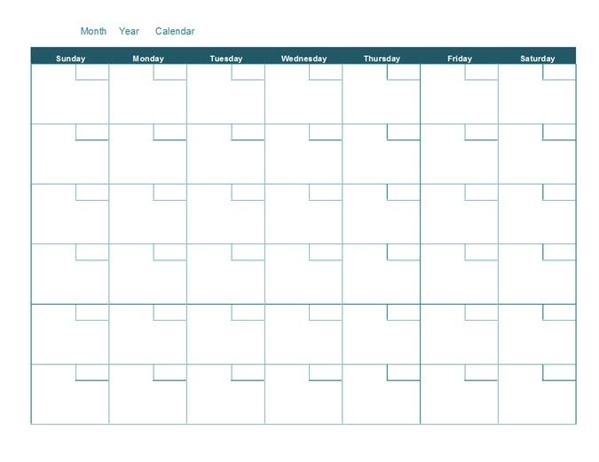 Blank Monthly Calendar_Monthly Calendar Blank Template